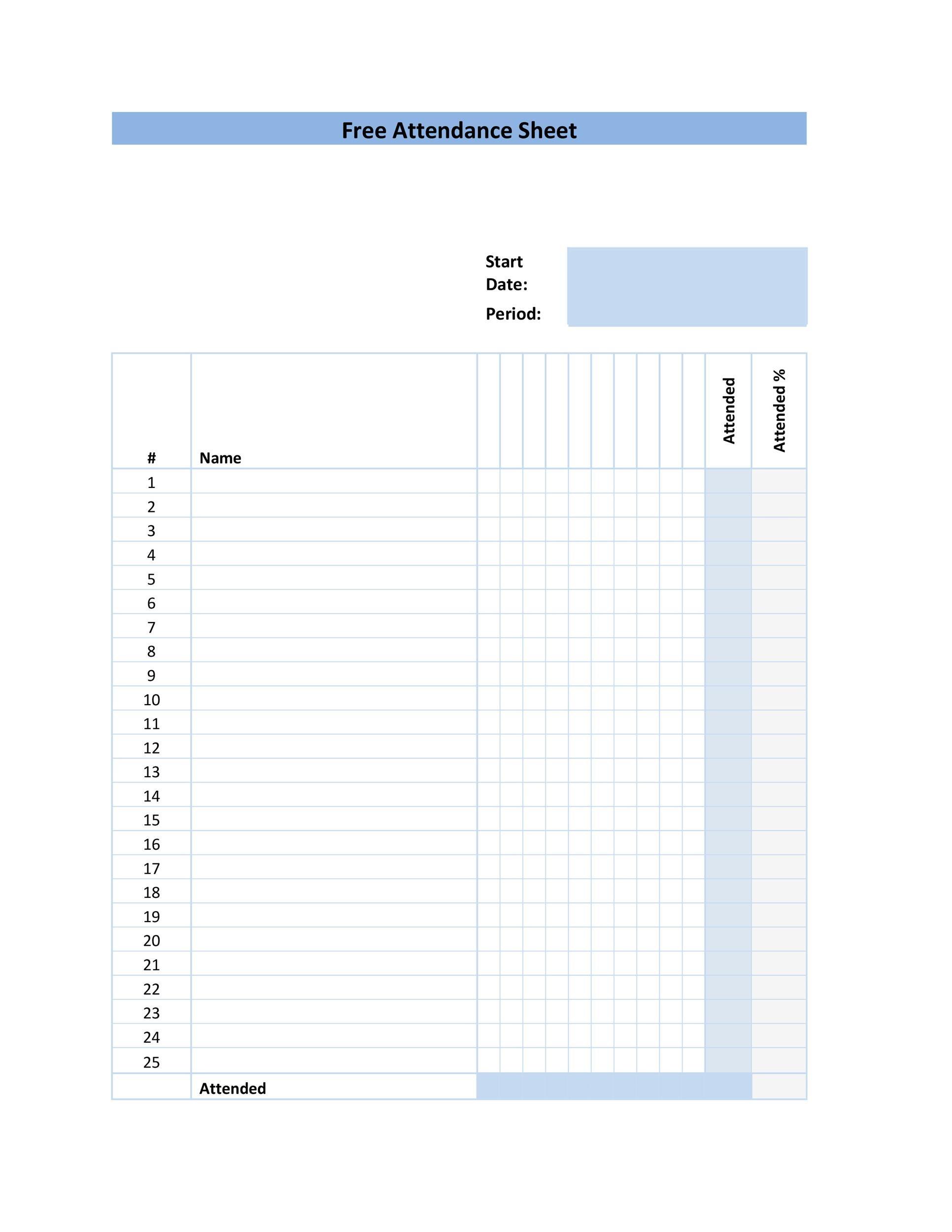Free Attendance Sheet 04