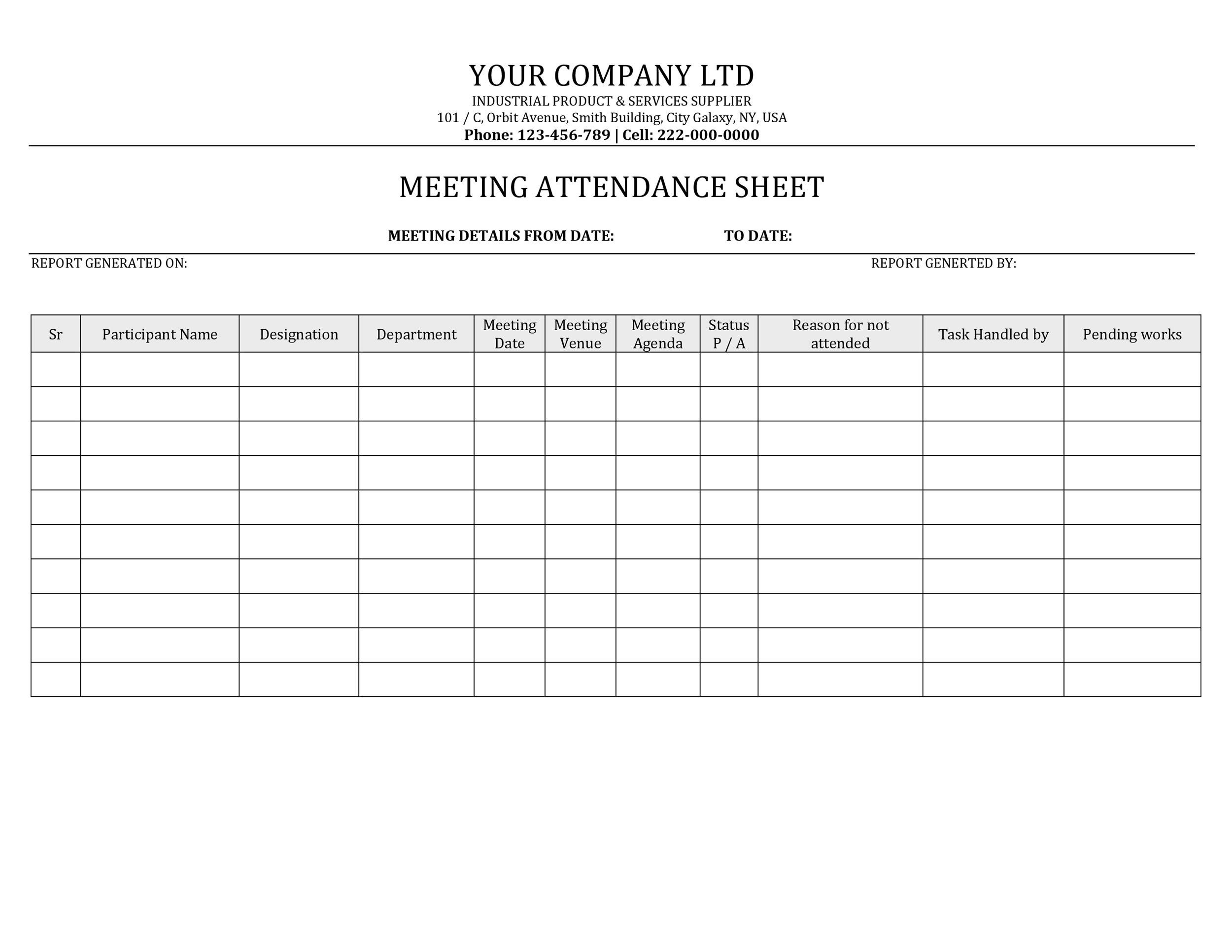training attendance sheet template