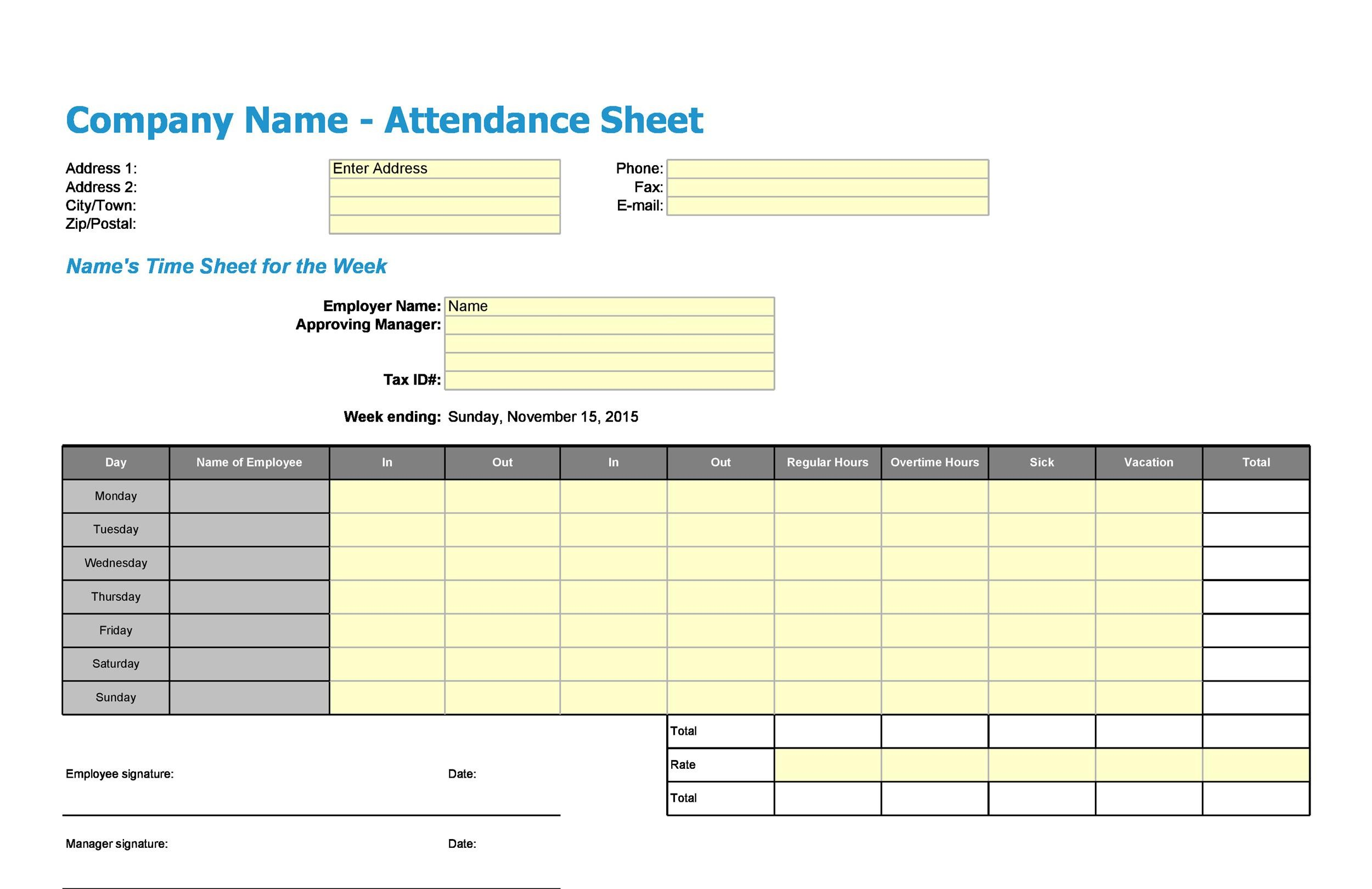 Free Attendance Sheet 07