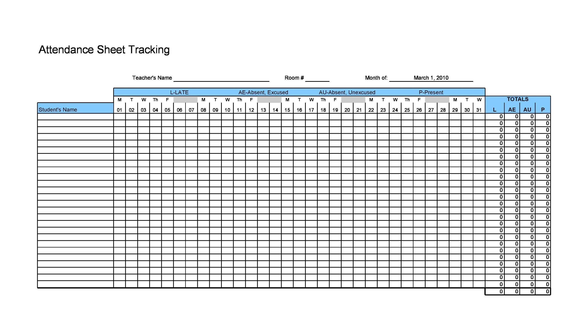 Free Attendance Sheet 14