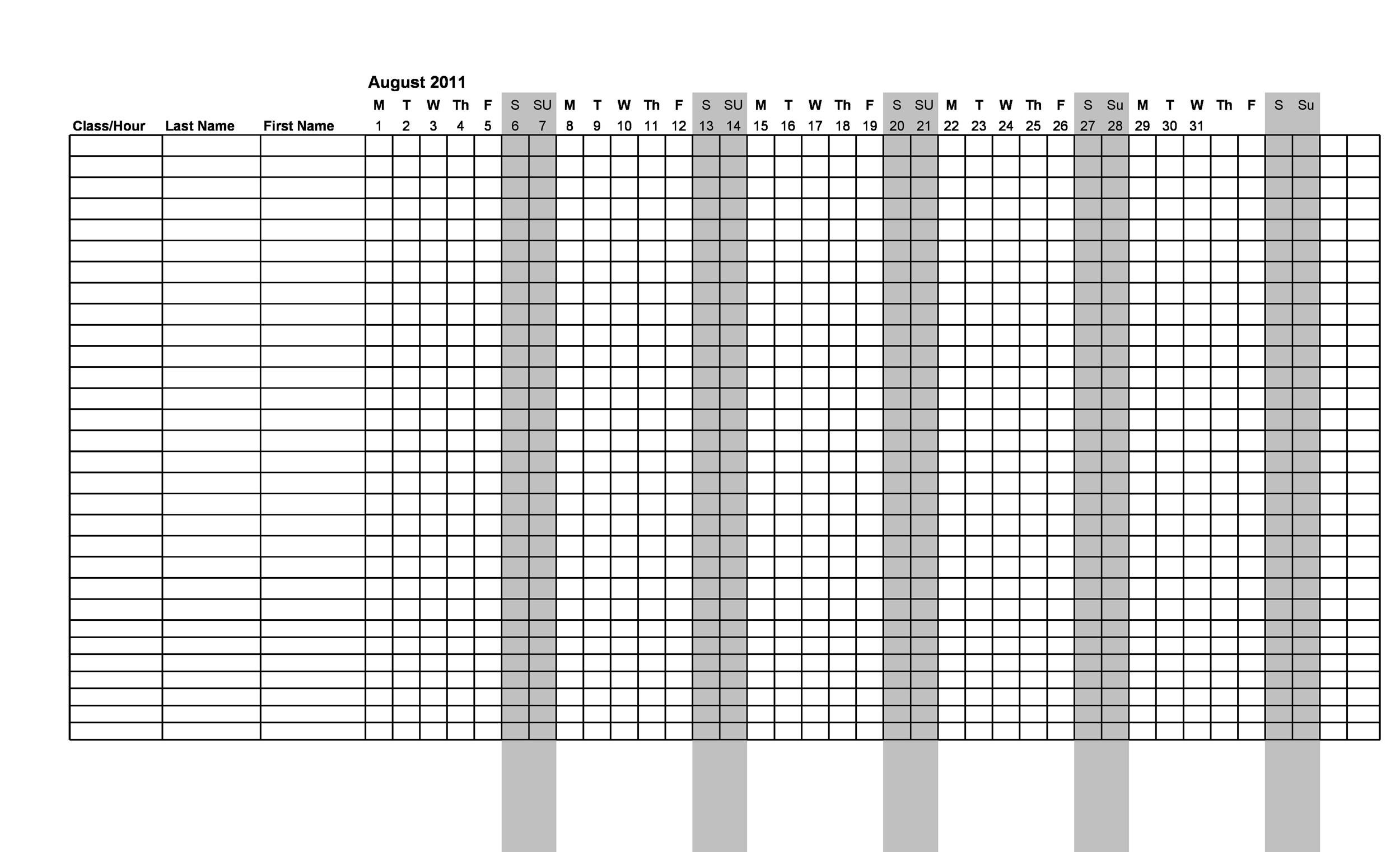 High School Attendance Sheet – Blank Calendars 2017