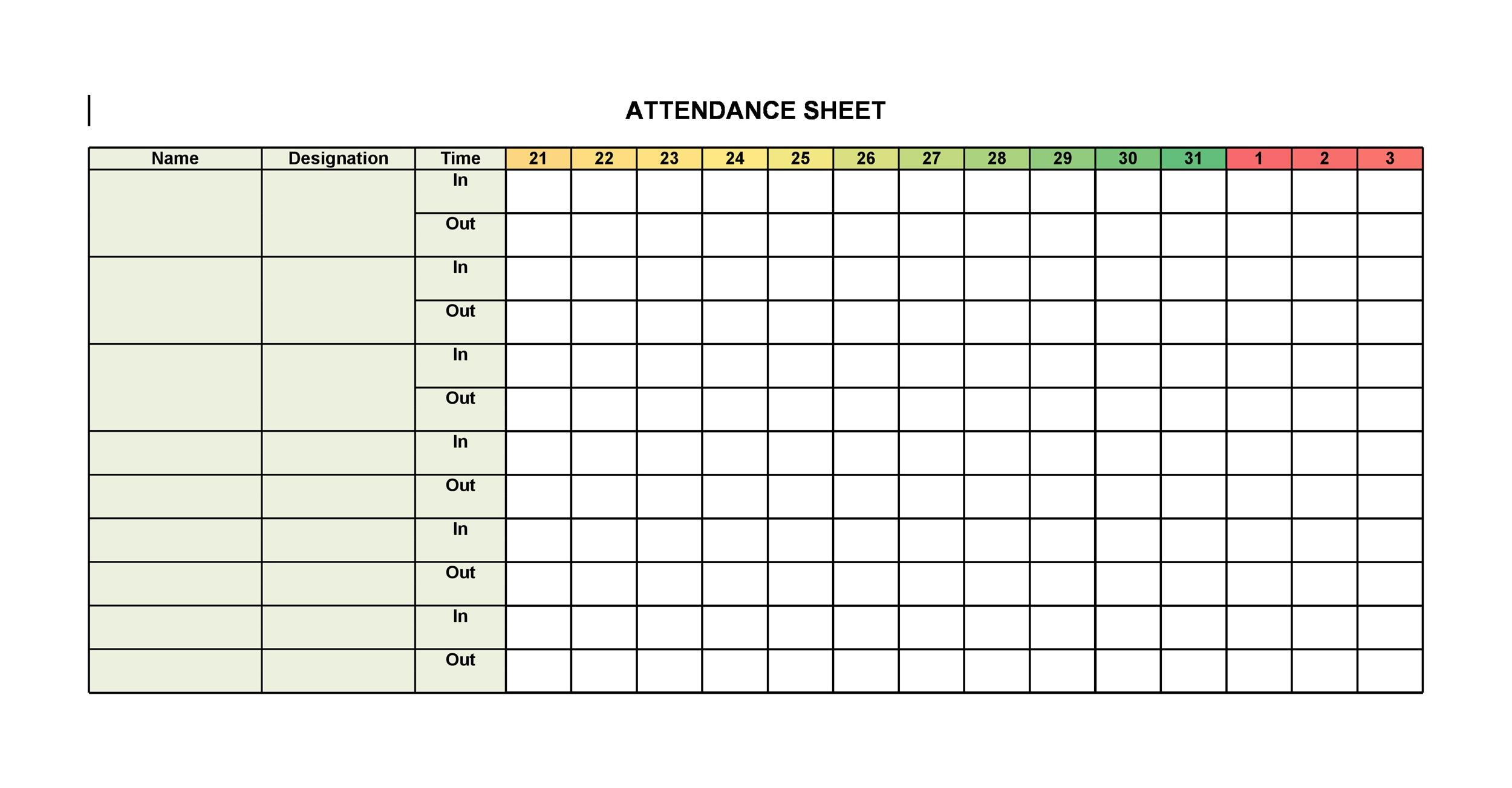 38 Free Printable Attendance Sheet Templates