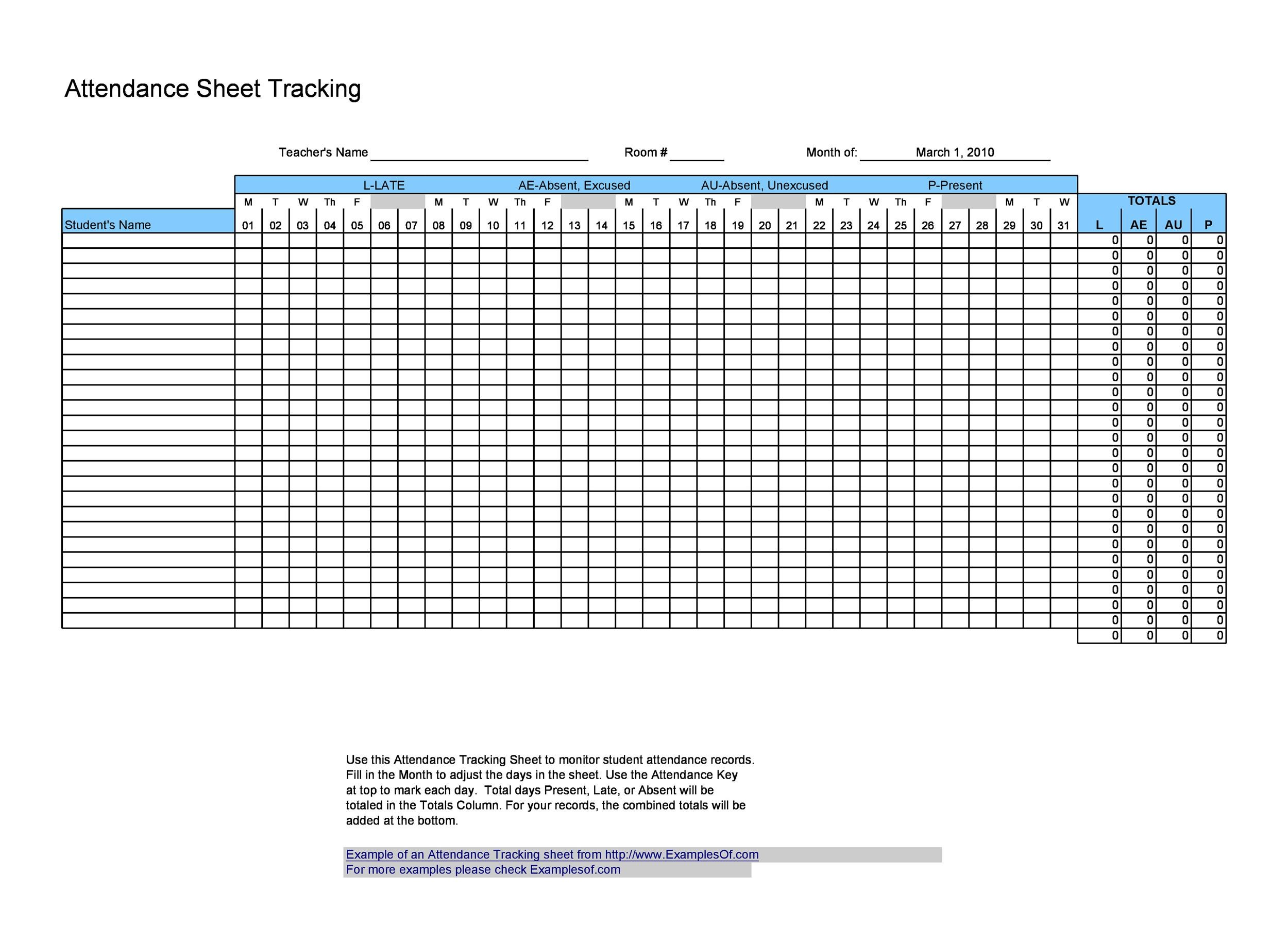 38 free printable attendance sheet templates for Tracking sheet template for teachers