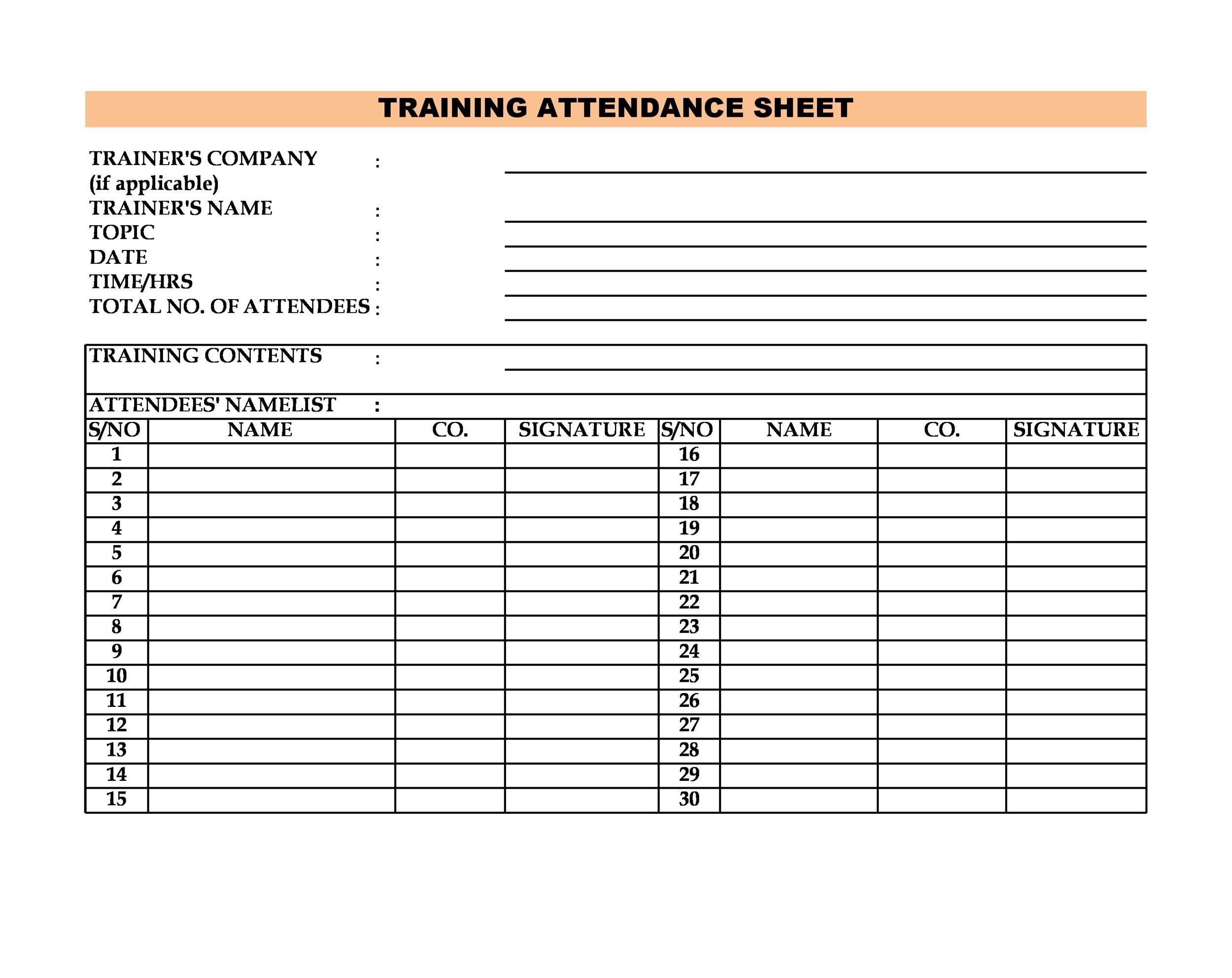 Free Attendance Sheet 30