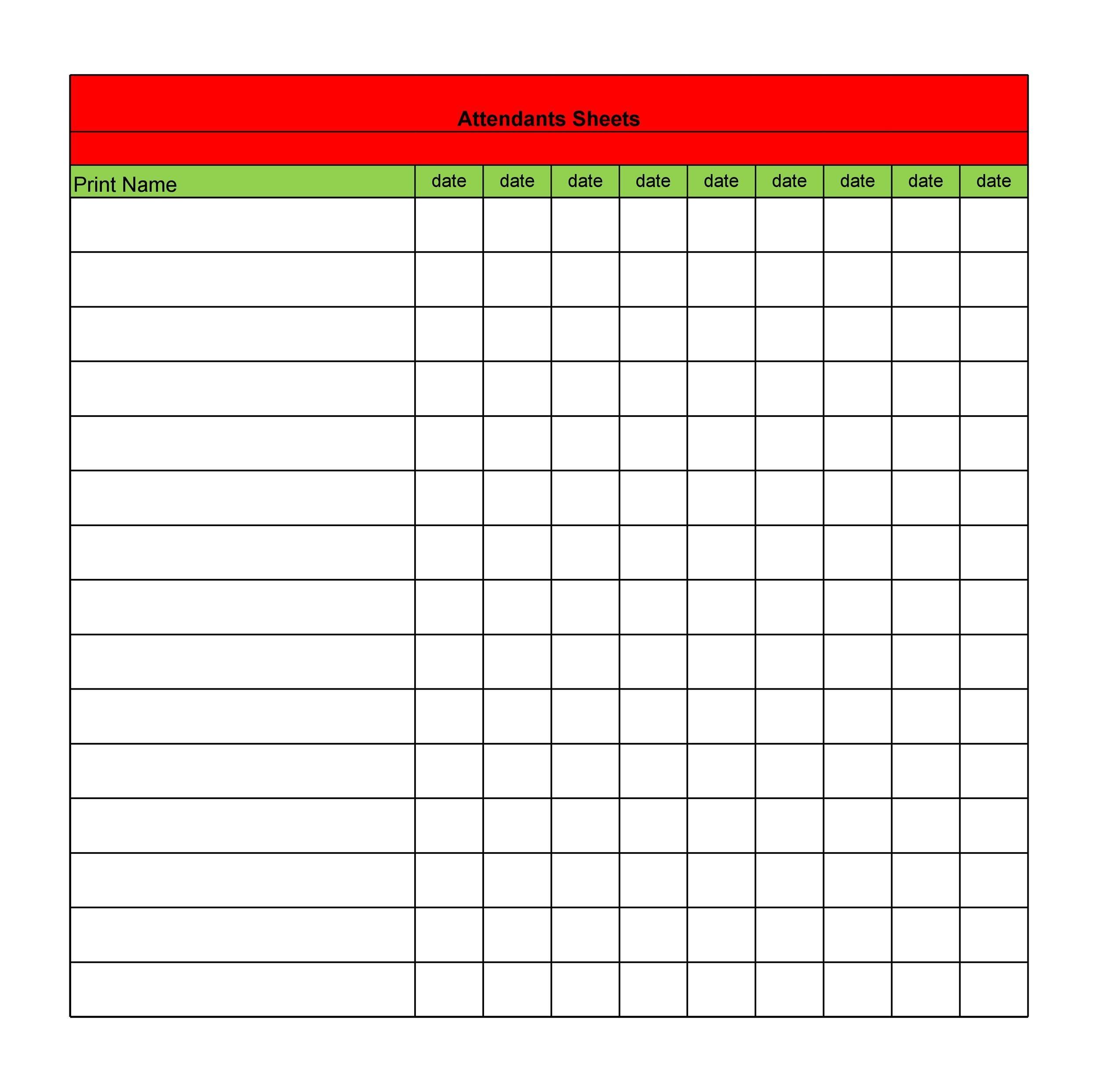 Free Attendance Sheet 31