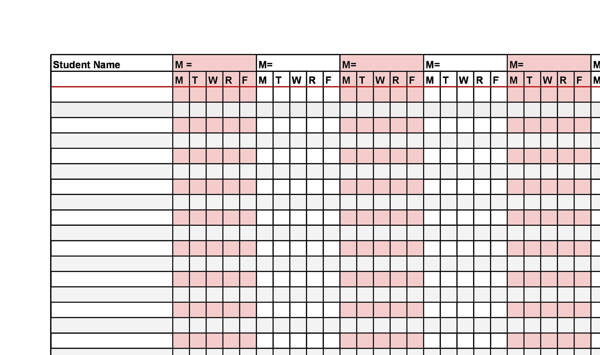 Printable Attendance Sheet 33  Printable Attendance Sheet For Teachers
