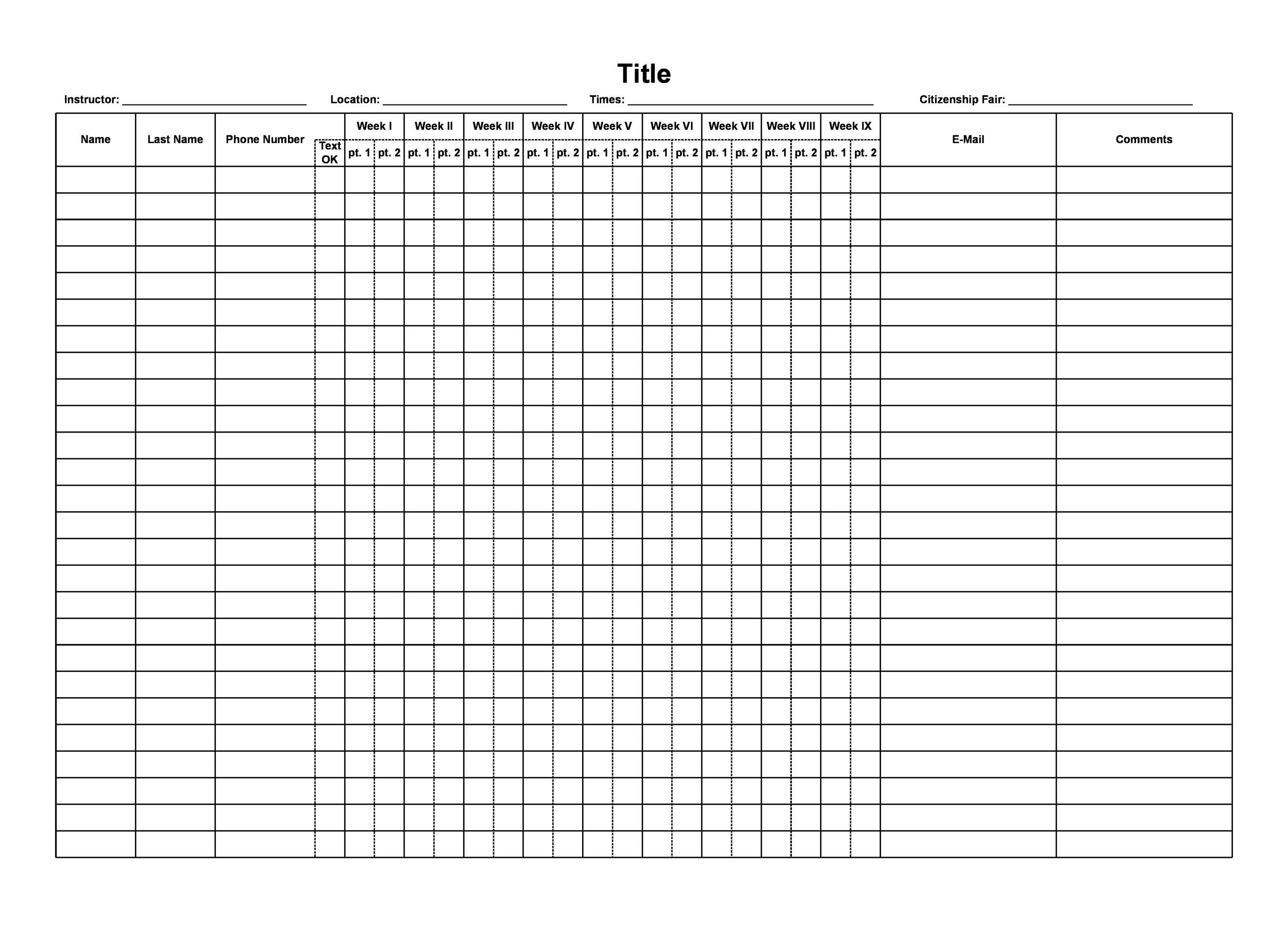 free attendance sheet 35 - Free Printable Templates
