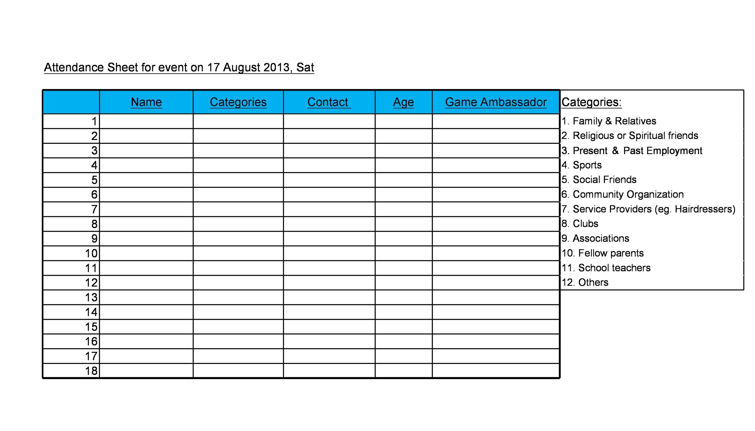 Simple attendance sheet template