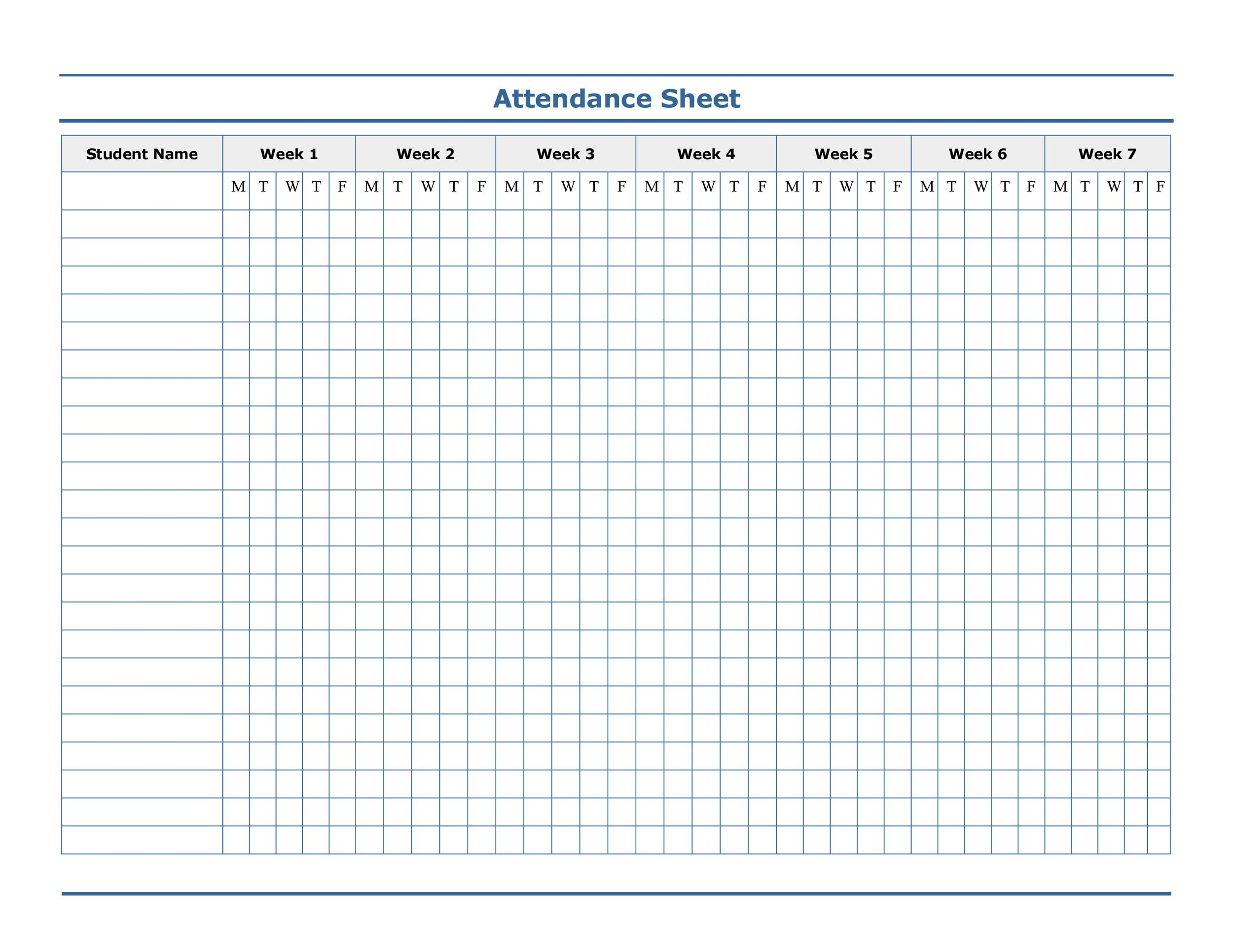 Perfect Printable Attendance Sheet 40 Regard To Attendance Sheet For Students