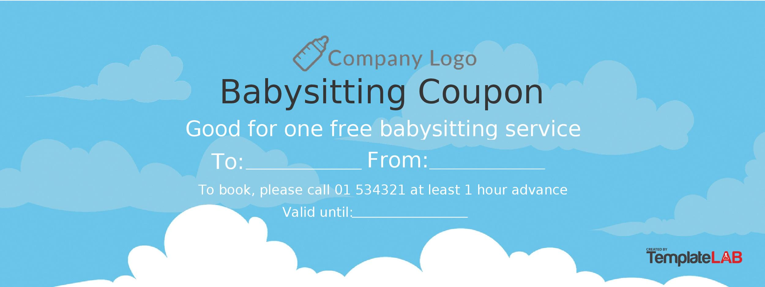 photograph regarding Printable Babysitting Coupon identified as 50 No cost Coupon Templates ᐅ Template Lab