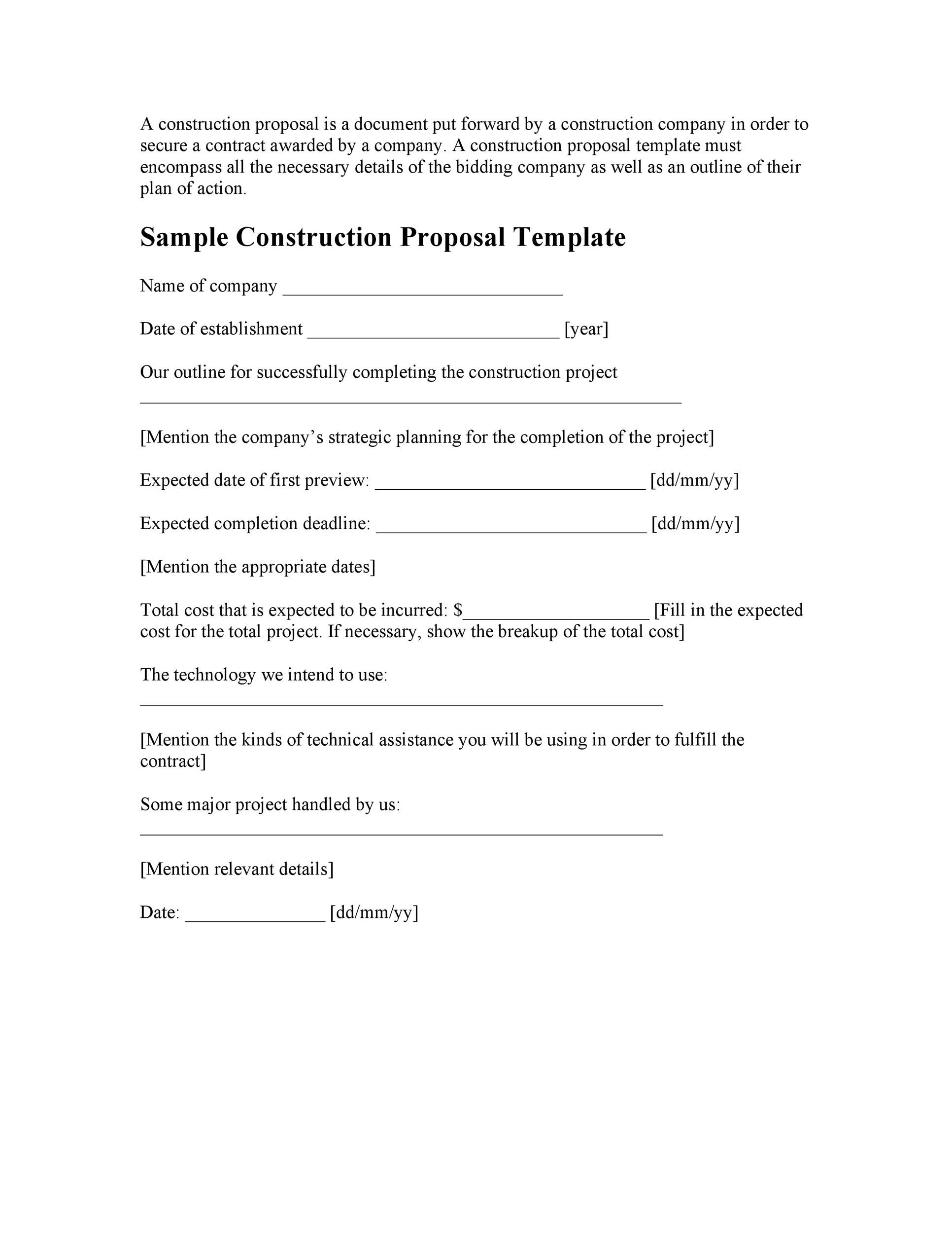 Printable Business Proposal Template 04  Example Of A Proposal Letter