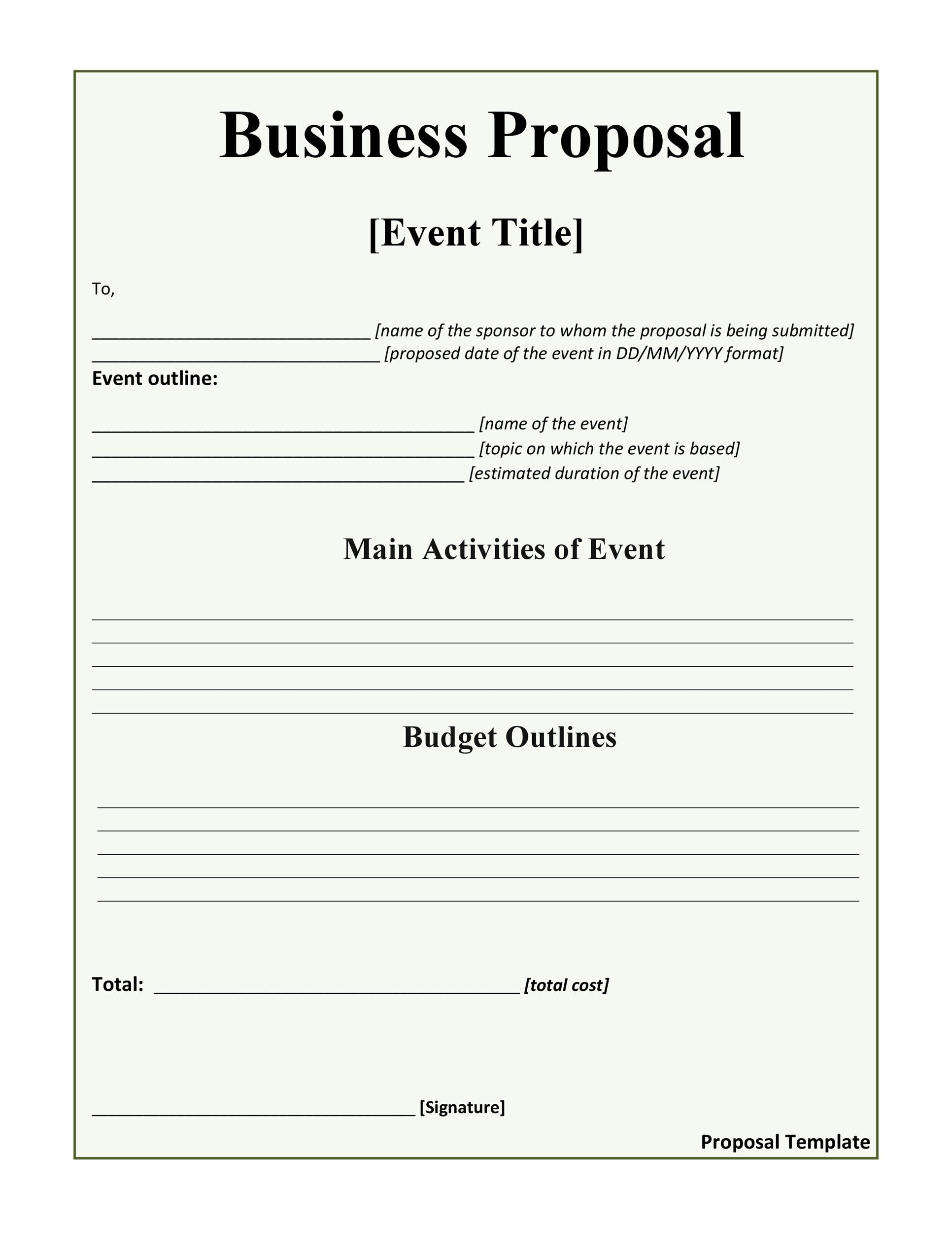 printable business proposal template 10 - Free Proposal Template