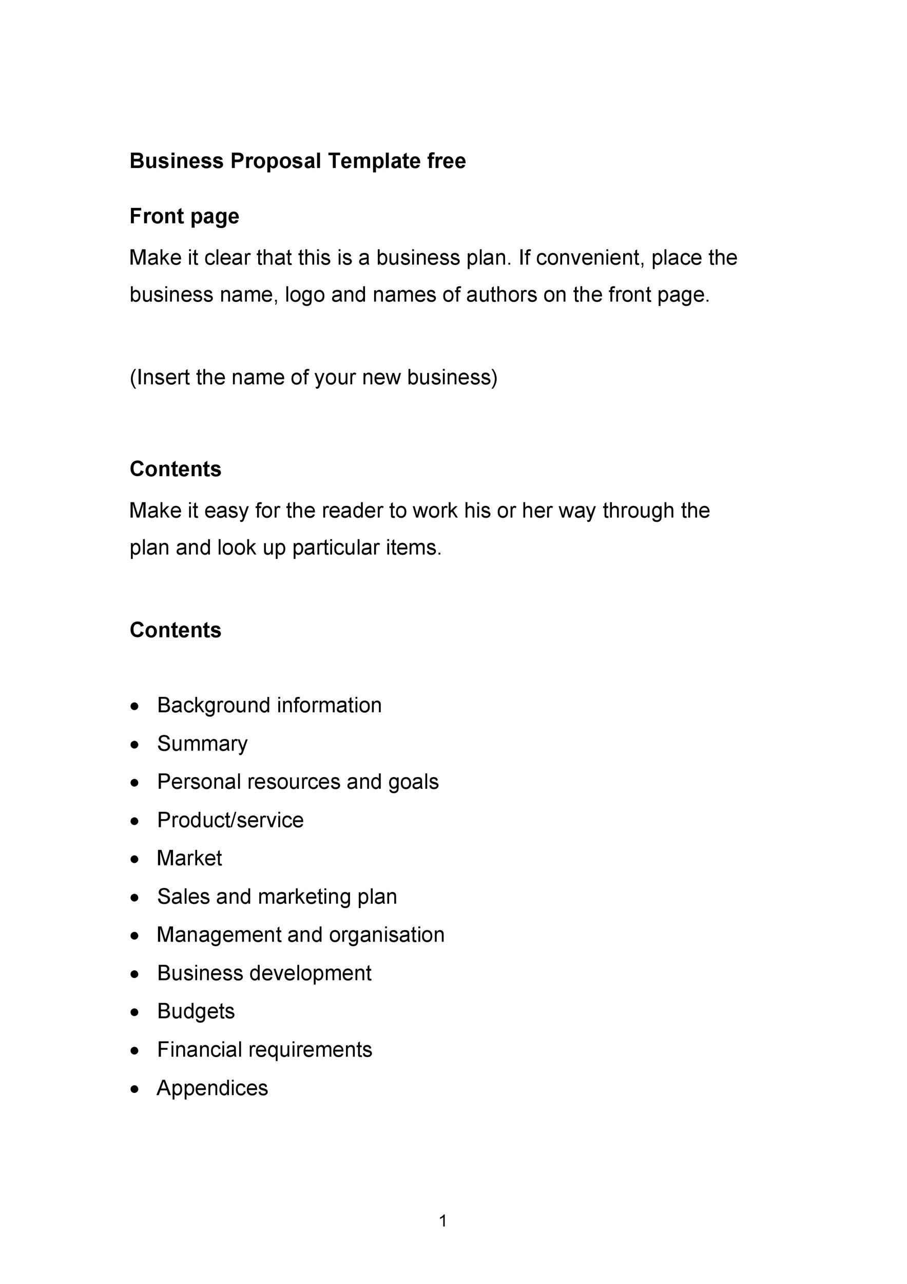 Printable Business Proposal Template 13  Free Business Proposal Letter