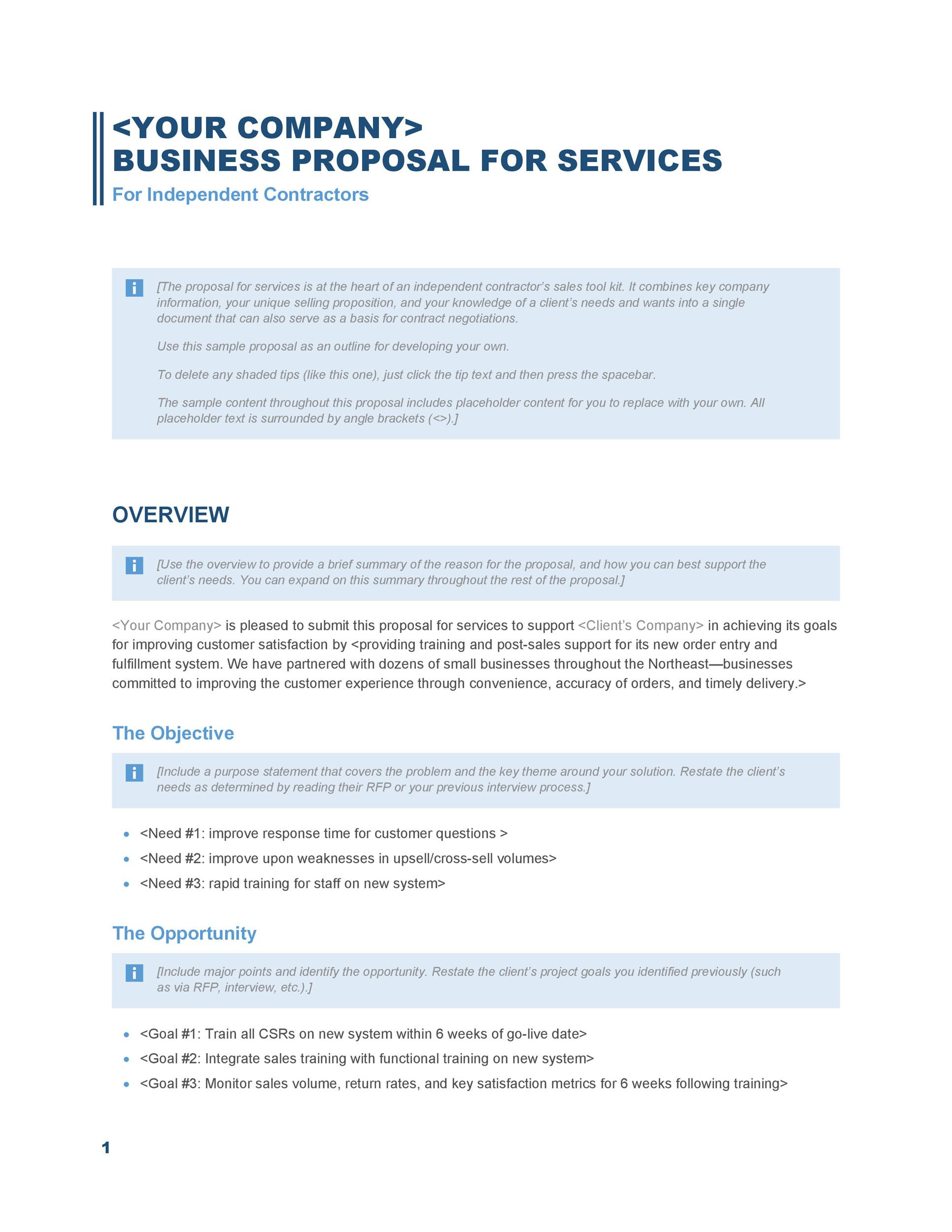 Contract Proposal. Service Contract Proposal Template 7+ Proposal