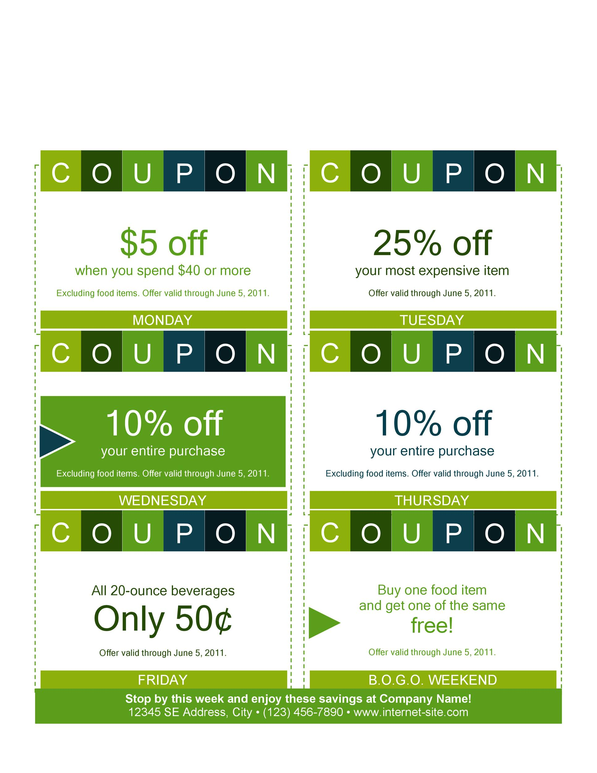 Printable Coupon 01  Lunch Voucher Template