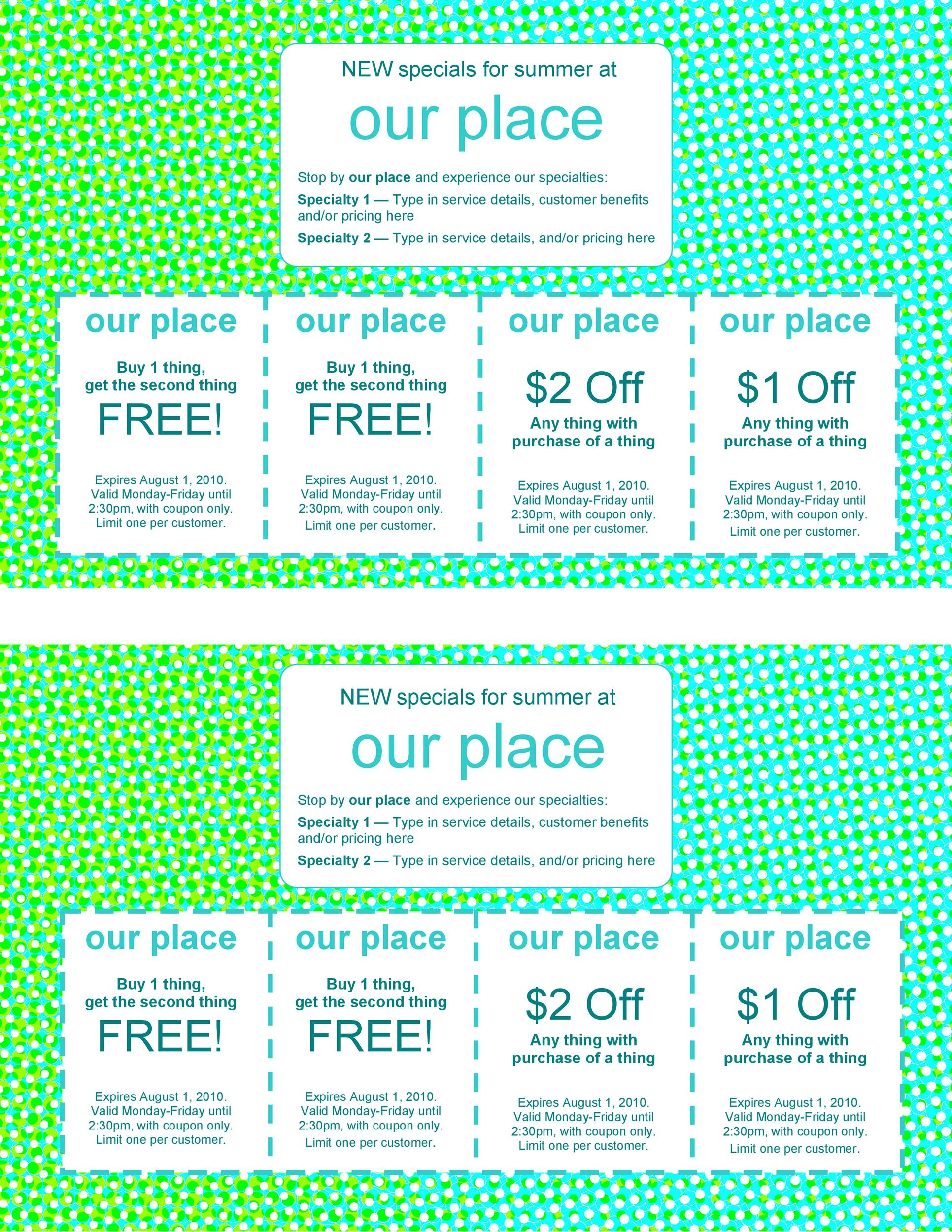 50 Free Coupon Templates Template Lab – Coupon Sheet Template
