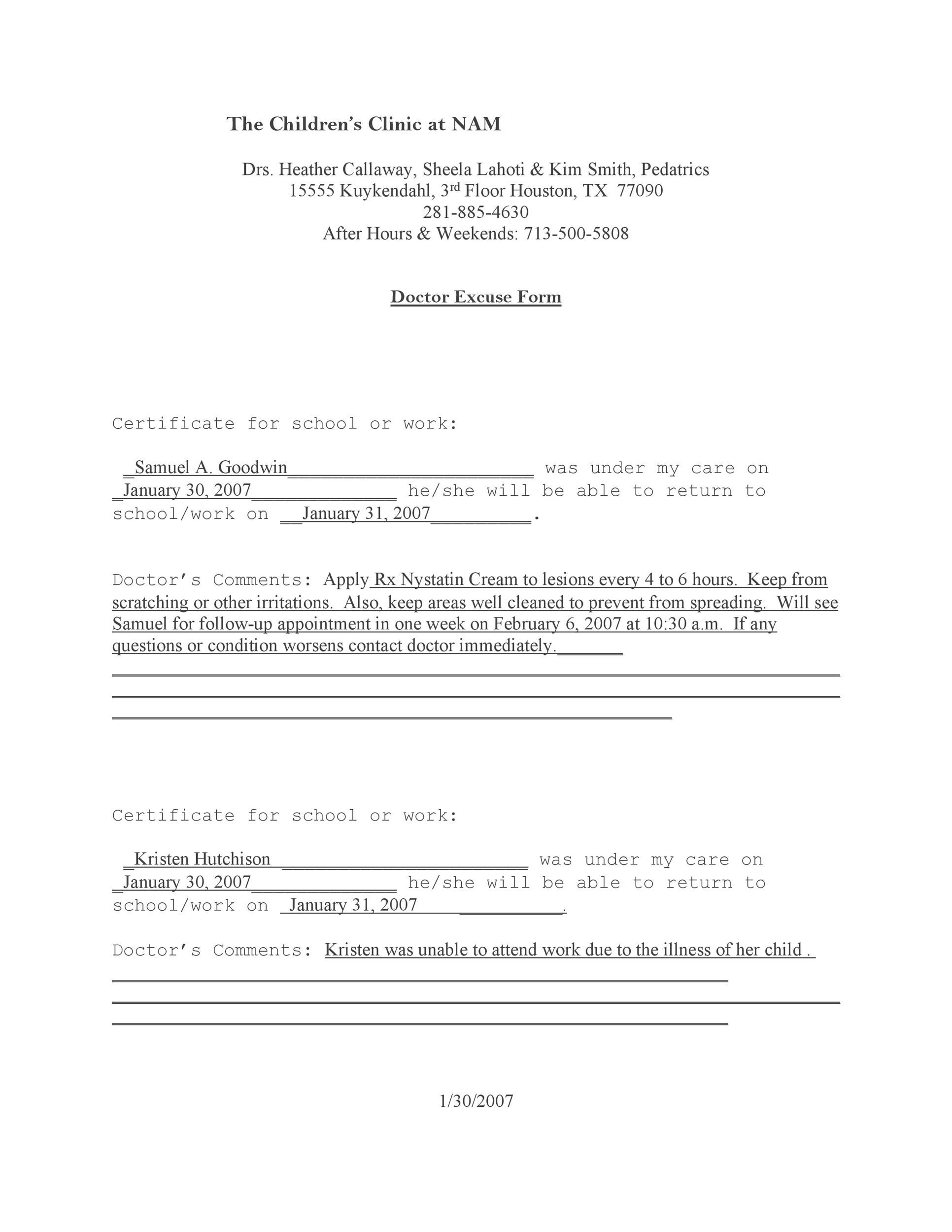 Free Doctor Note  Excuse Templates  Template Lab