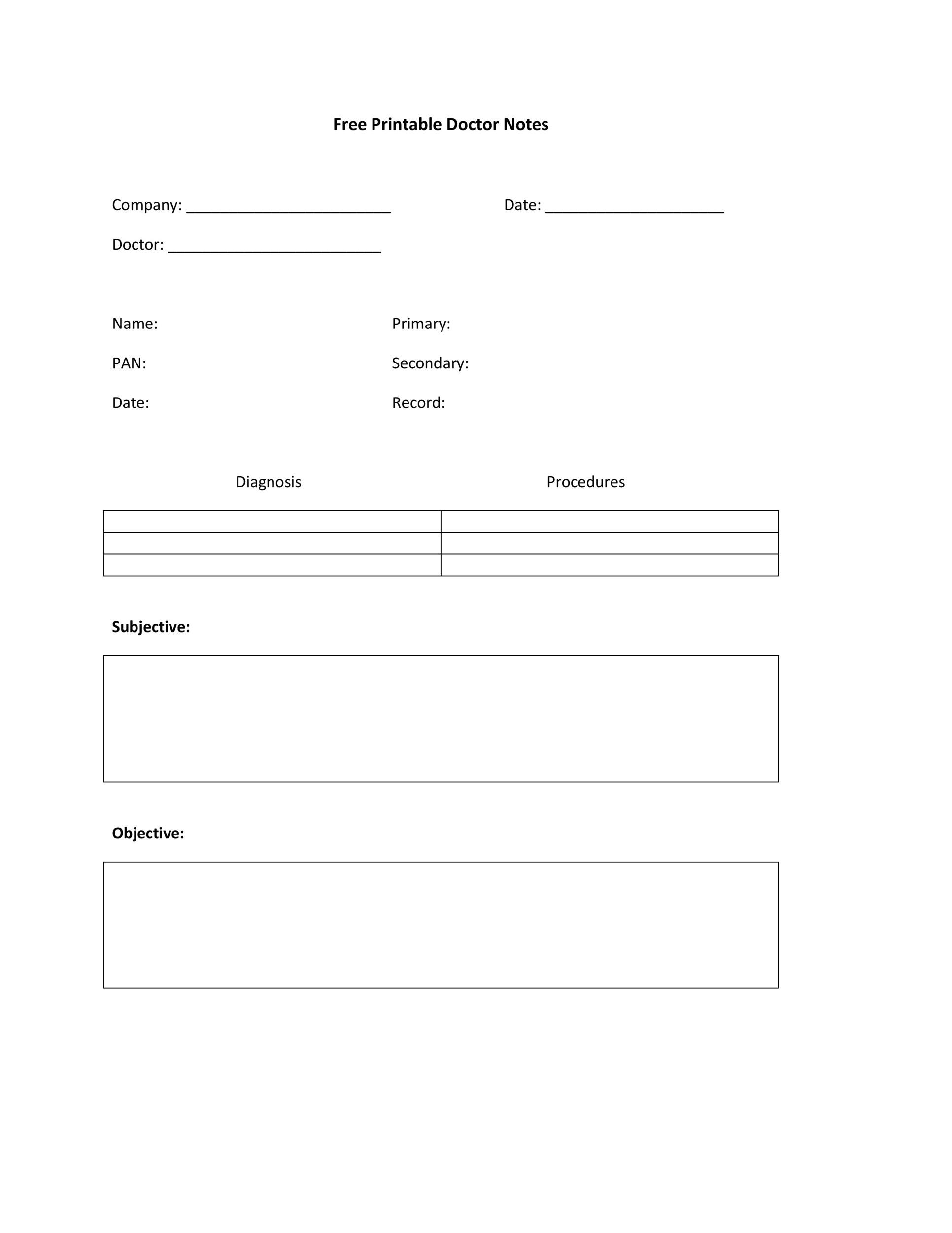 Printable Doctor Notes 07  Free Printable Doctor Forms