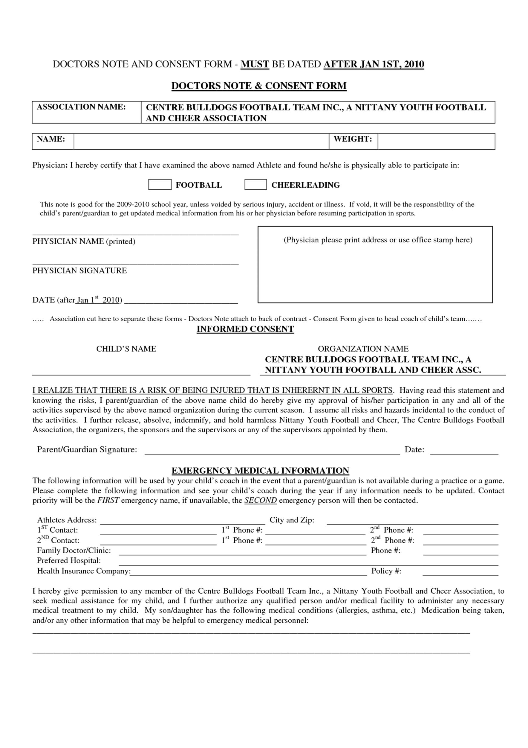 Physician Release Form Doctor Notes   Free Doctor Note