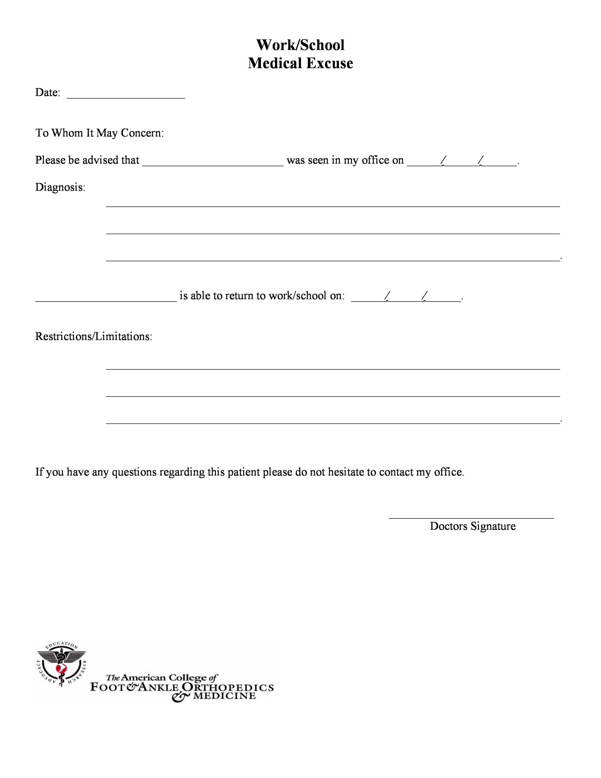 25  free doctor note    excuse templates