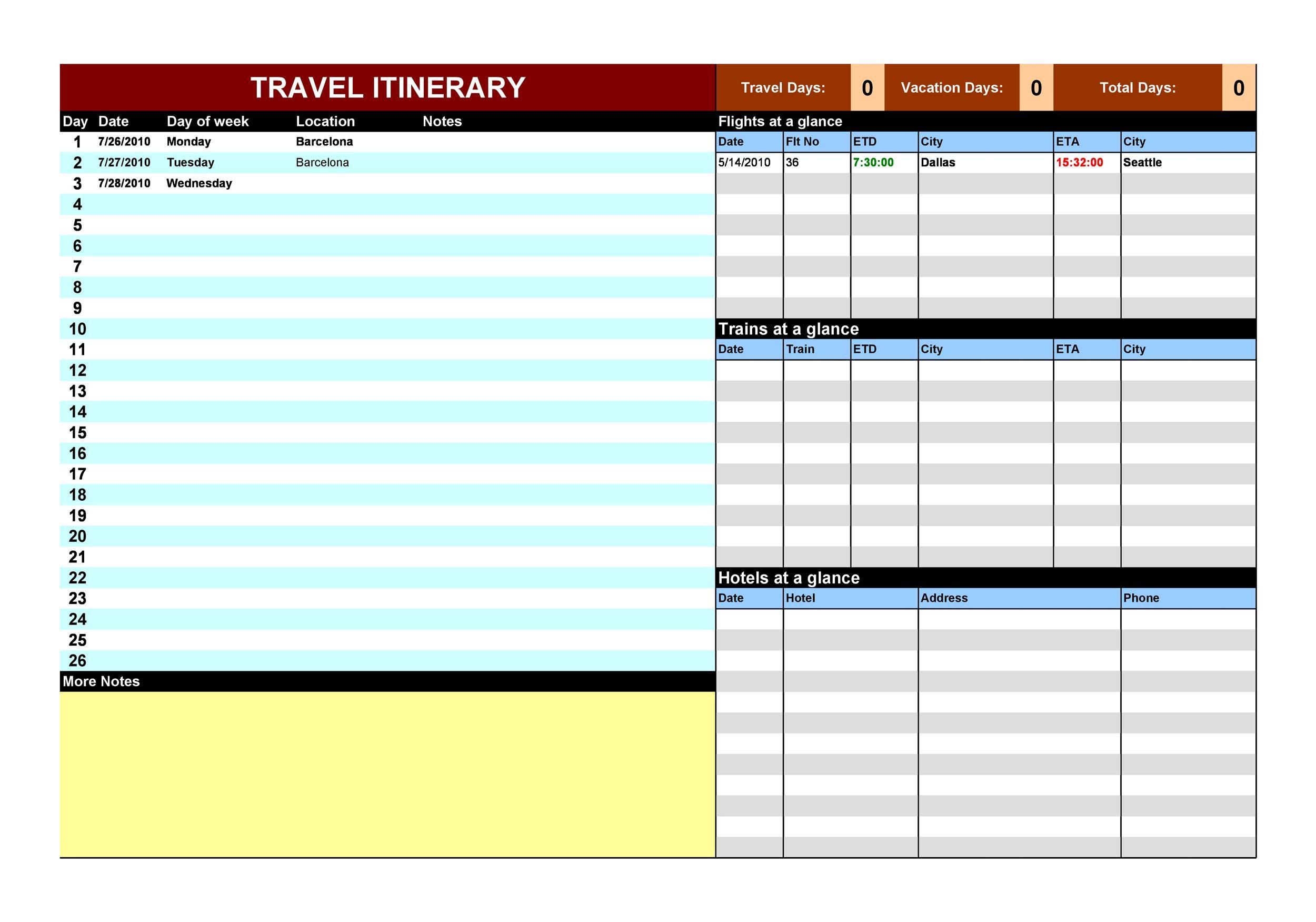 Free Itinerary 10
