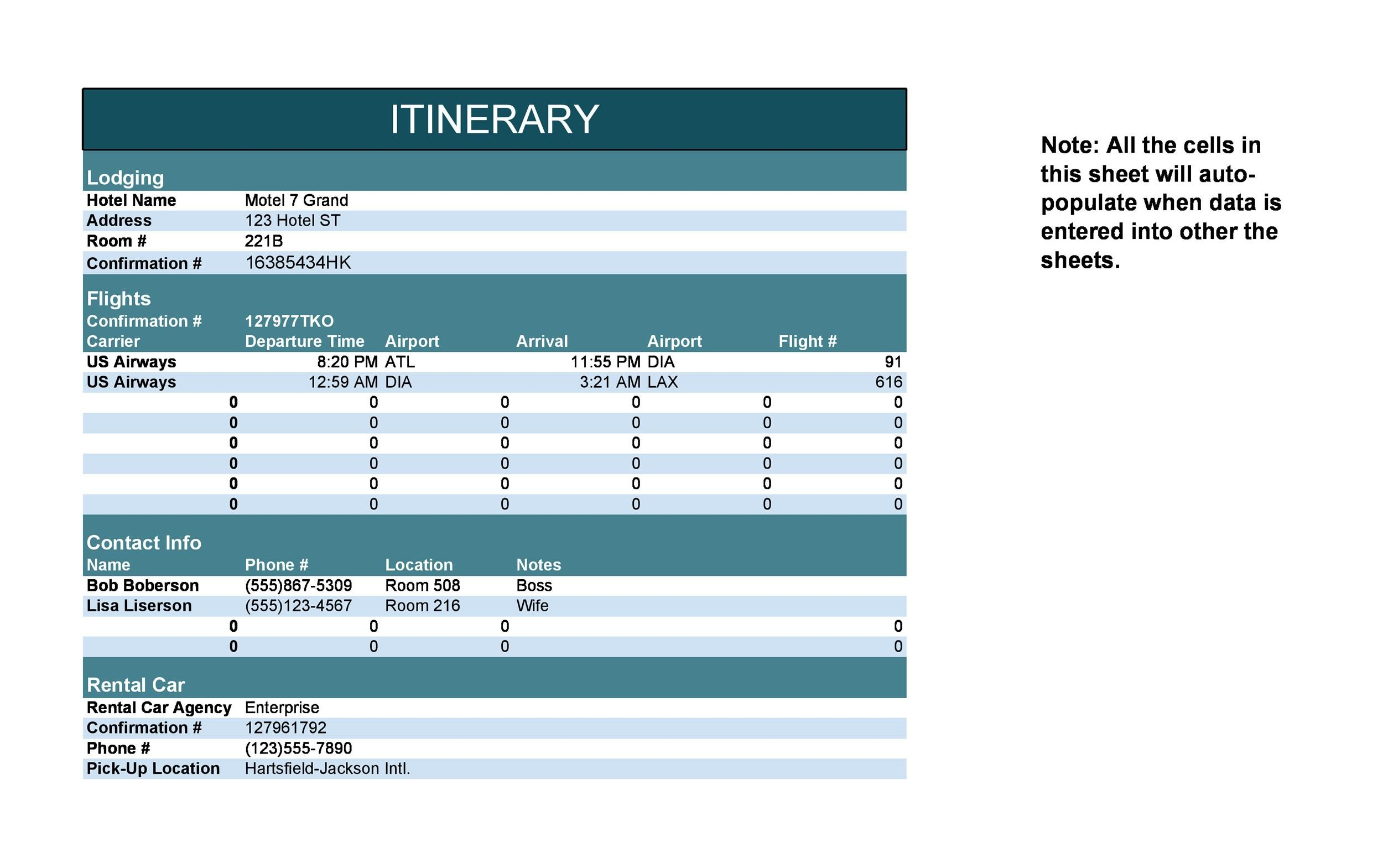 Itinerary Templates