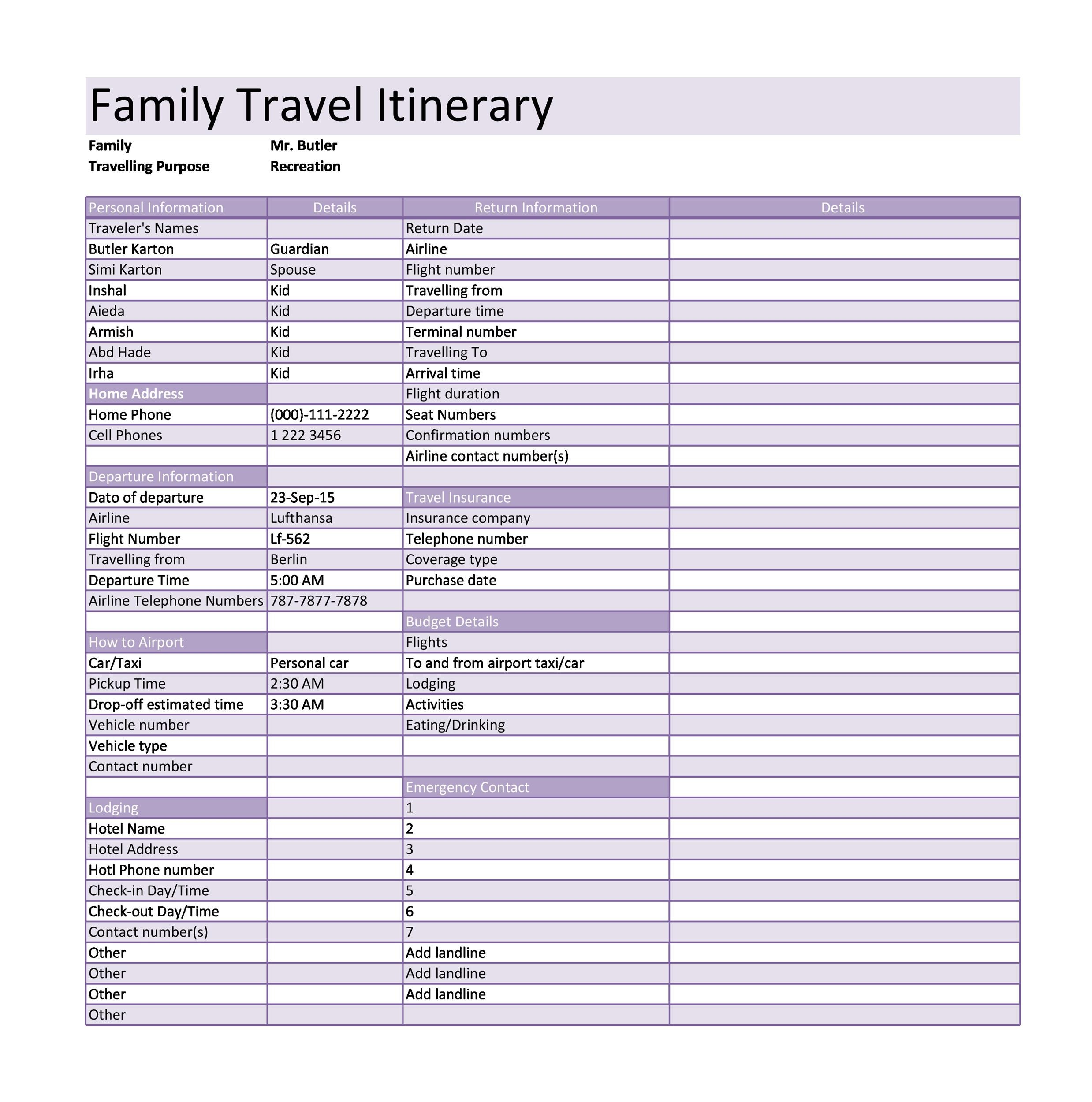 Itinerary Templates Travel Vacation Trip Flight