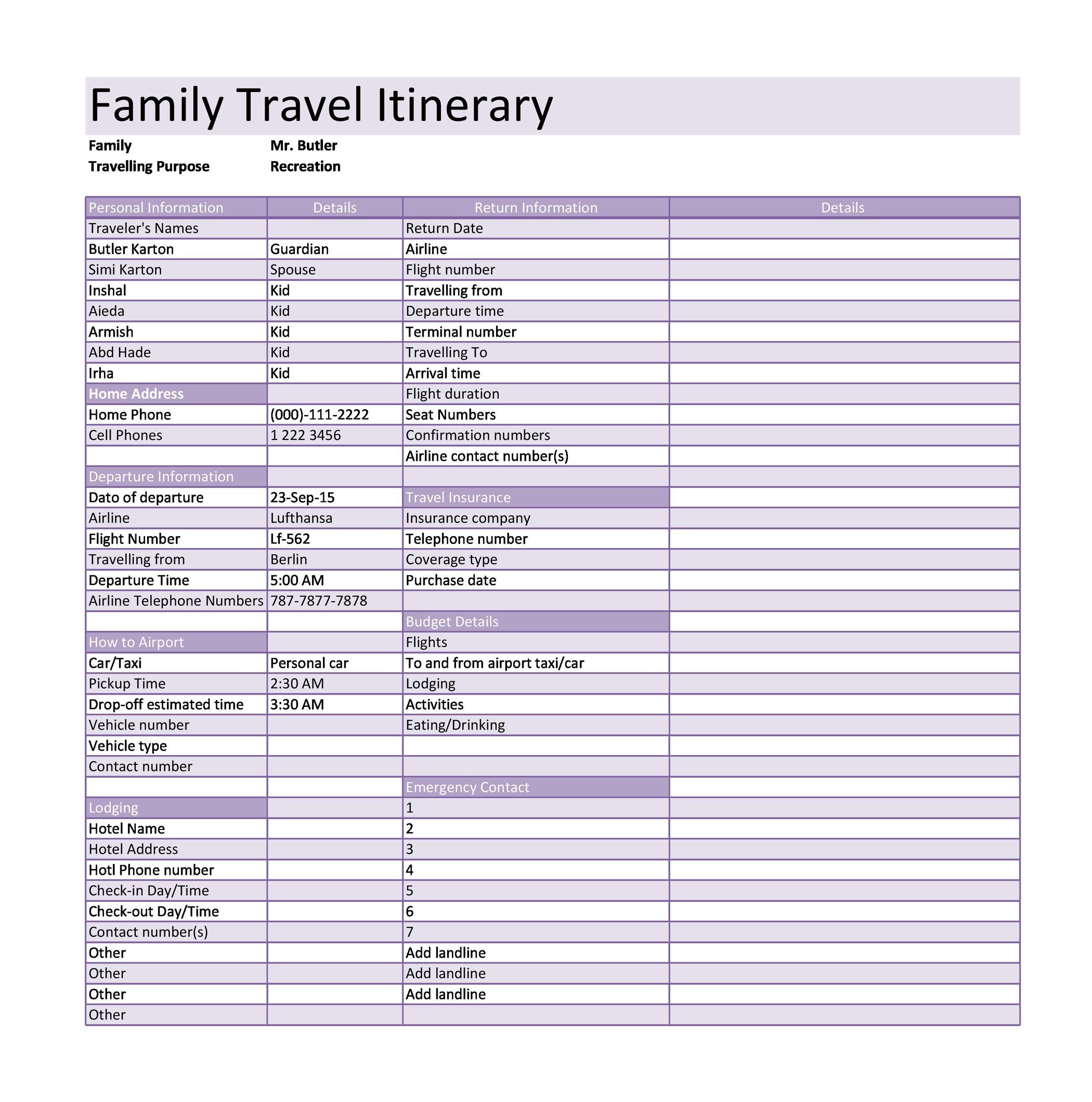 Free Itinerary 15