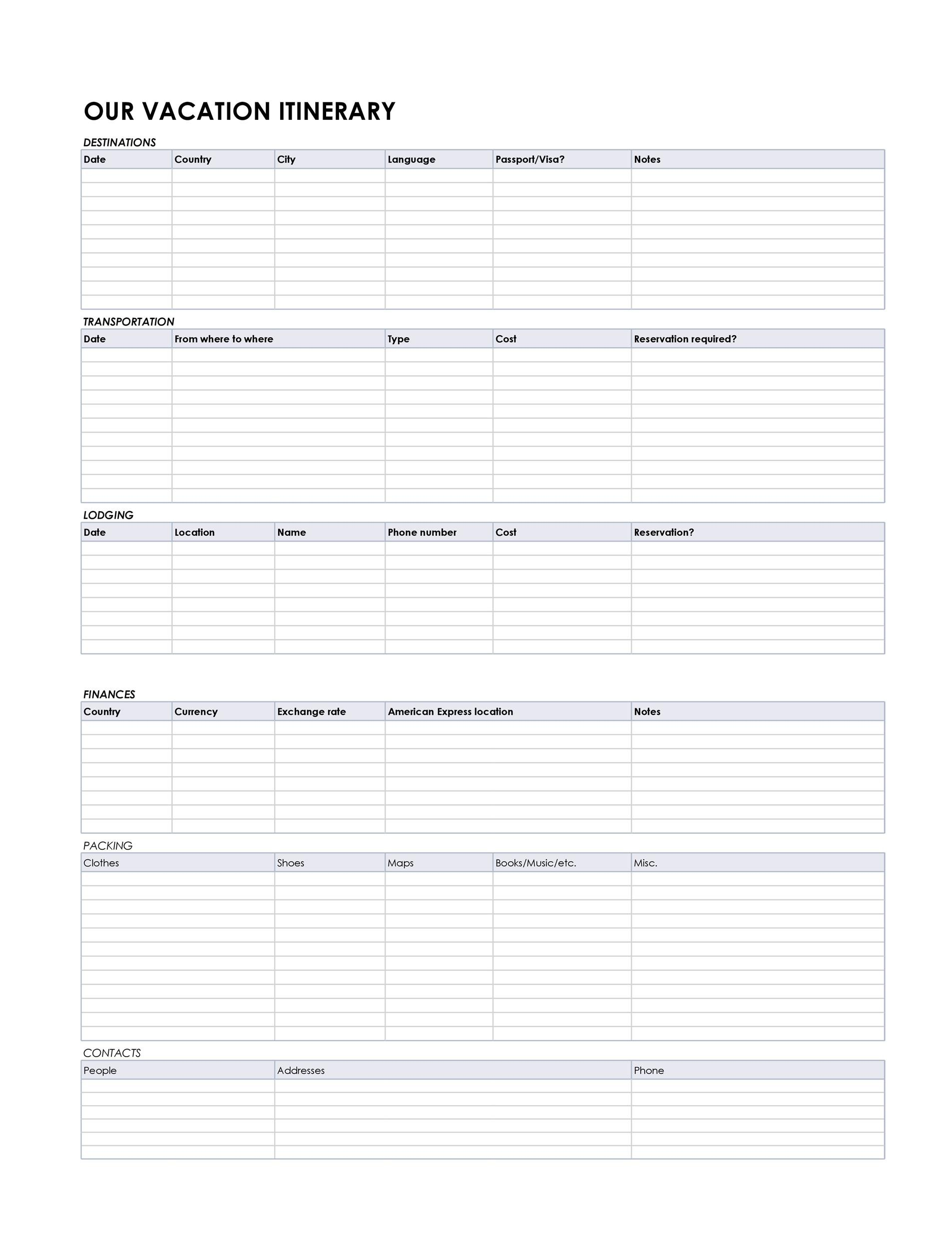 image relating to Printable Itinerary known as 30+ Itinerary Templates (Drive, Holiday, Family vacation, Flight)