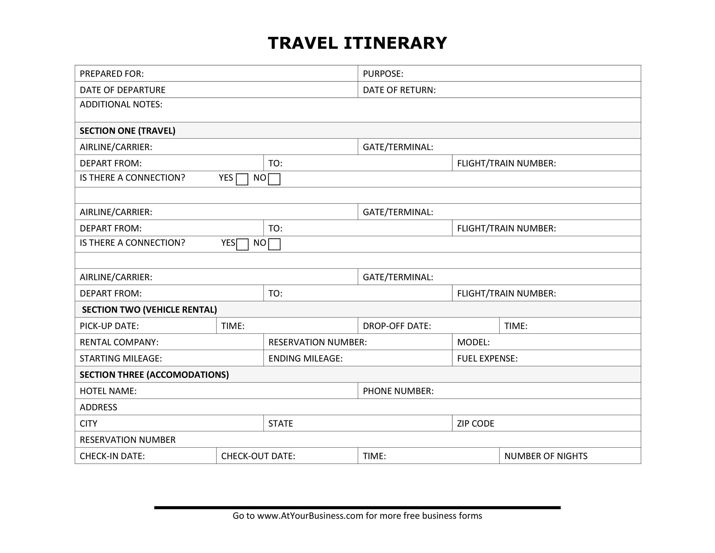 personal travel itinerary template