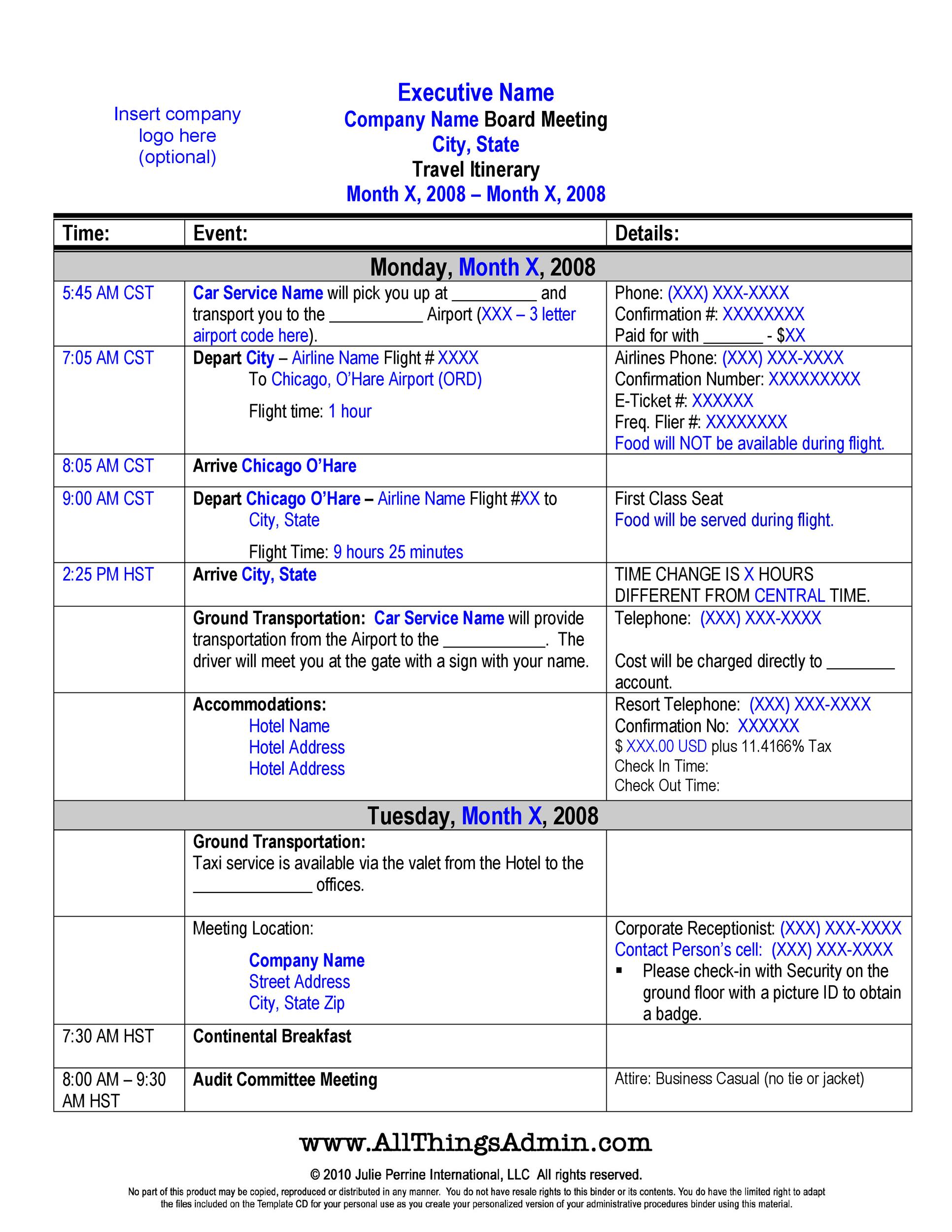 Printable Itinerary 30  Business Itinerary Template With Meetings