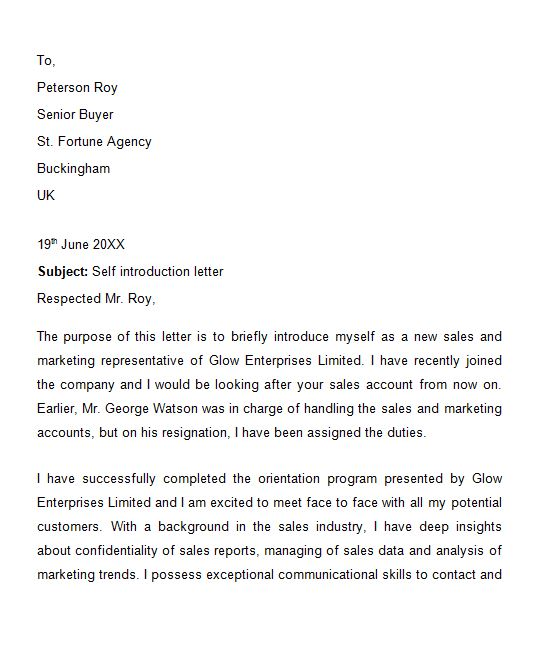 business introduction letter format