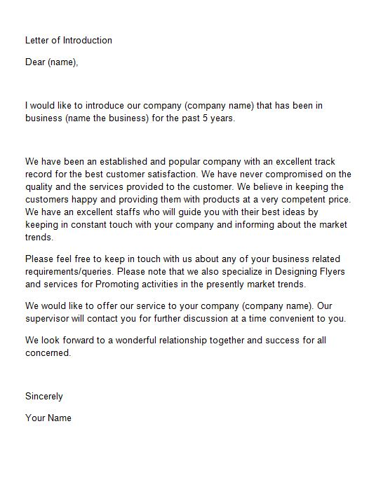 introduction letter for new business template