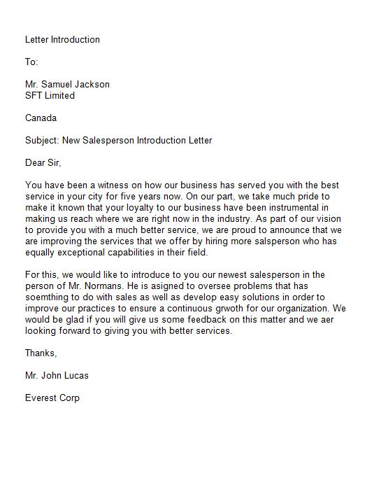Free Introduction Letter Template 36