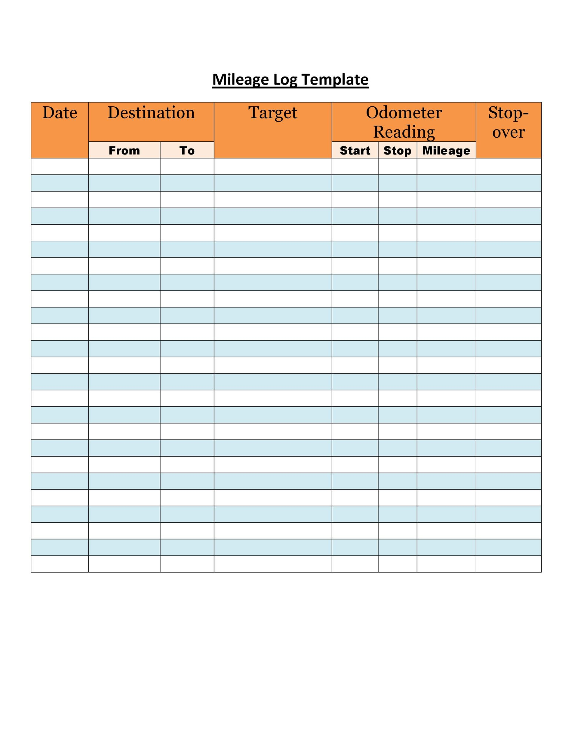 Free Mileage Log Template 06