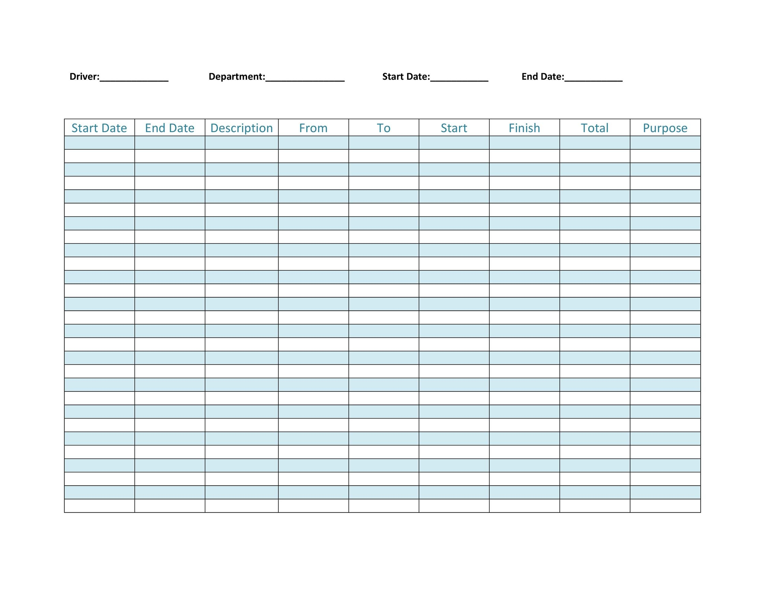 mileage log template excel