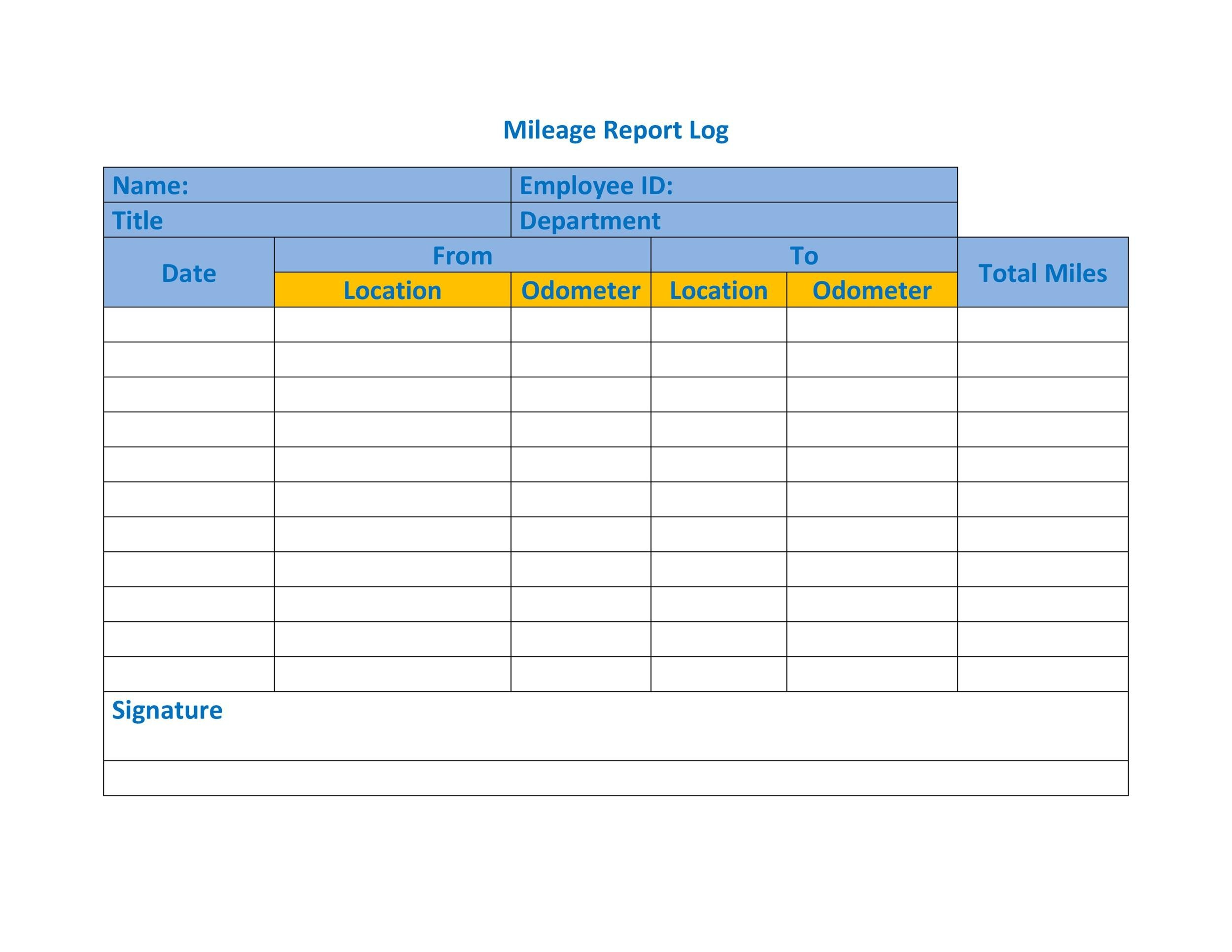 Free Mileage Log Template 16