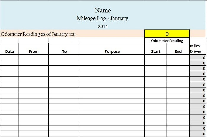 Free Mileage Log Template 21