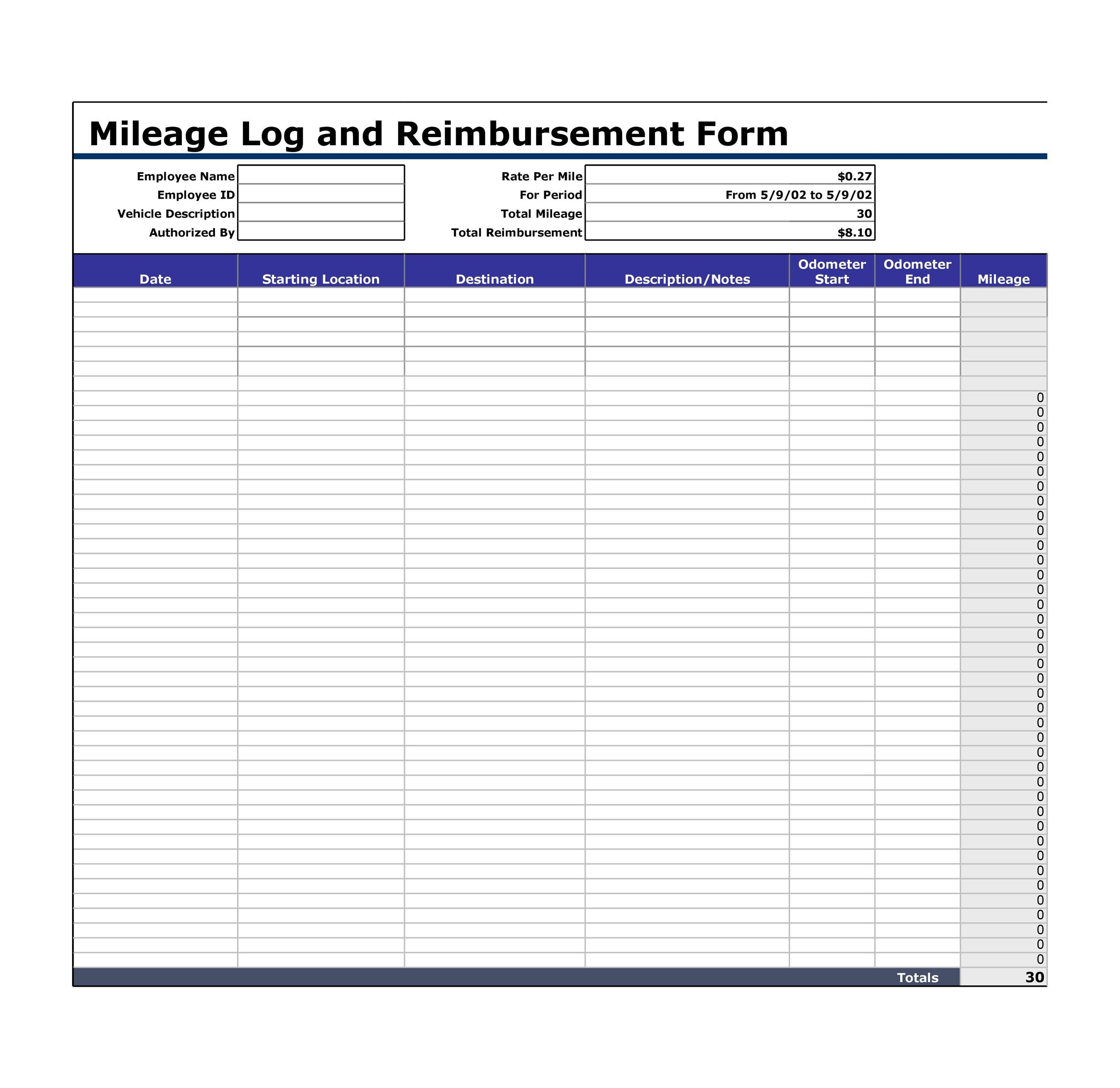 Printable Mileage Log Template 22