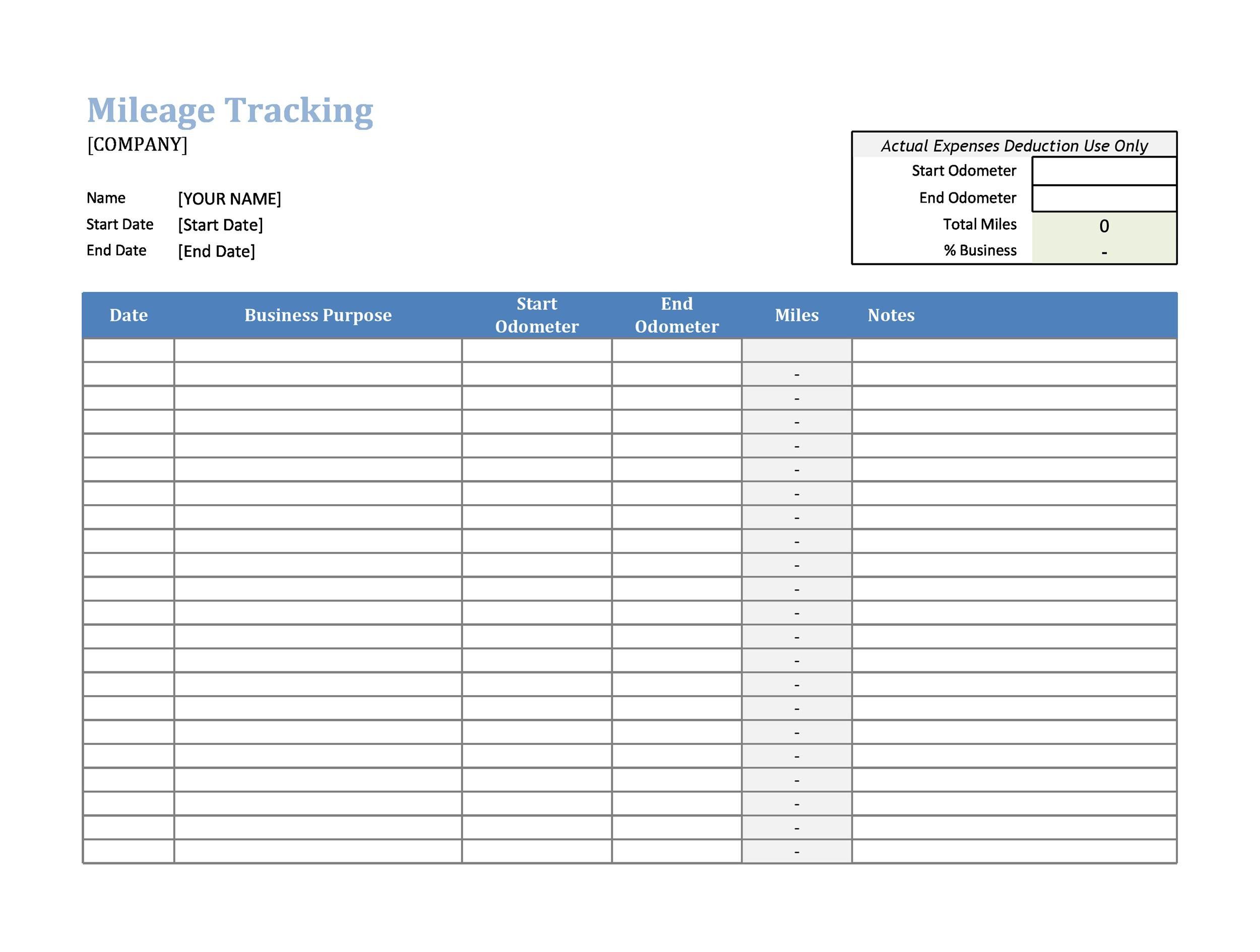 Printable Mileage Log Templates Free  Template Lab