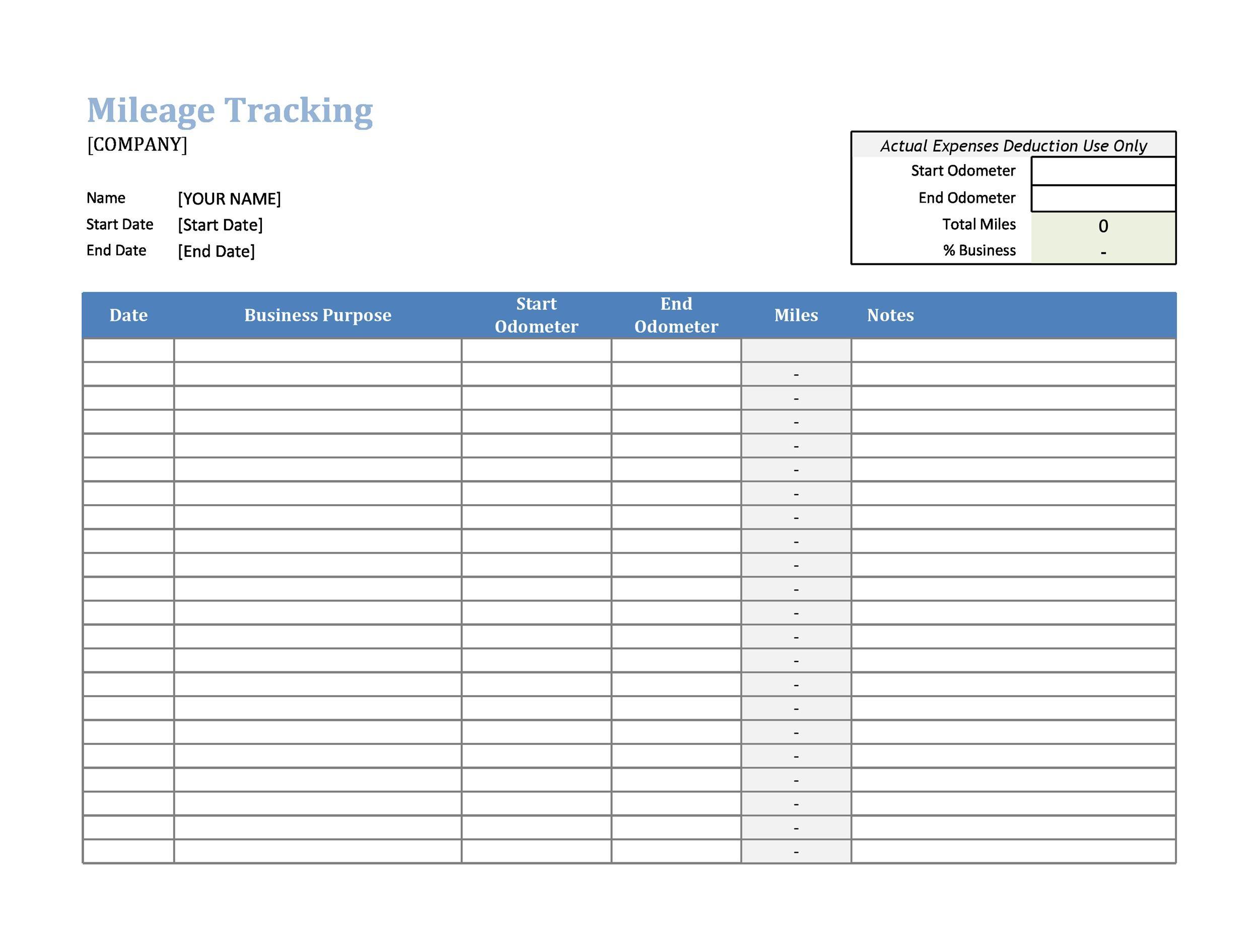 Free Mileage Log Template 27