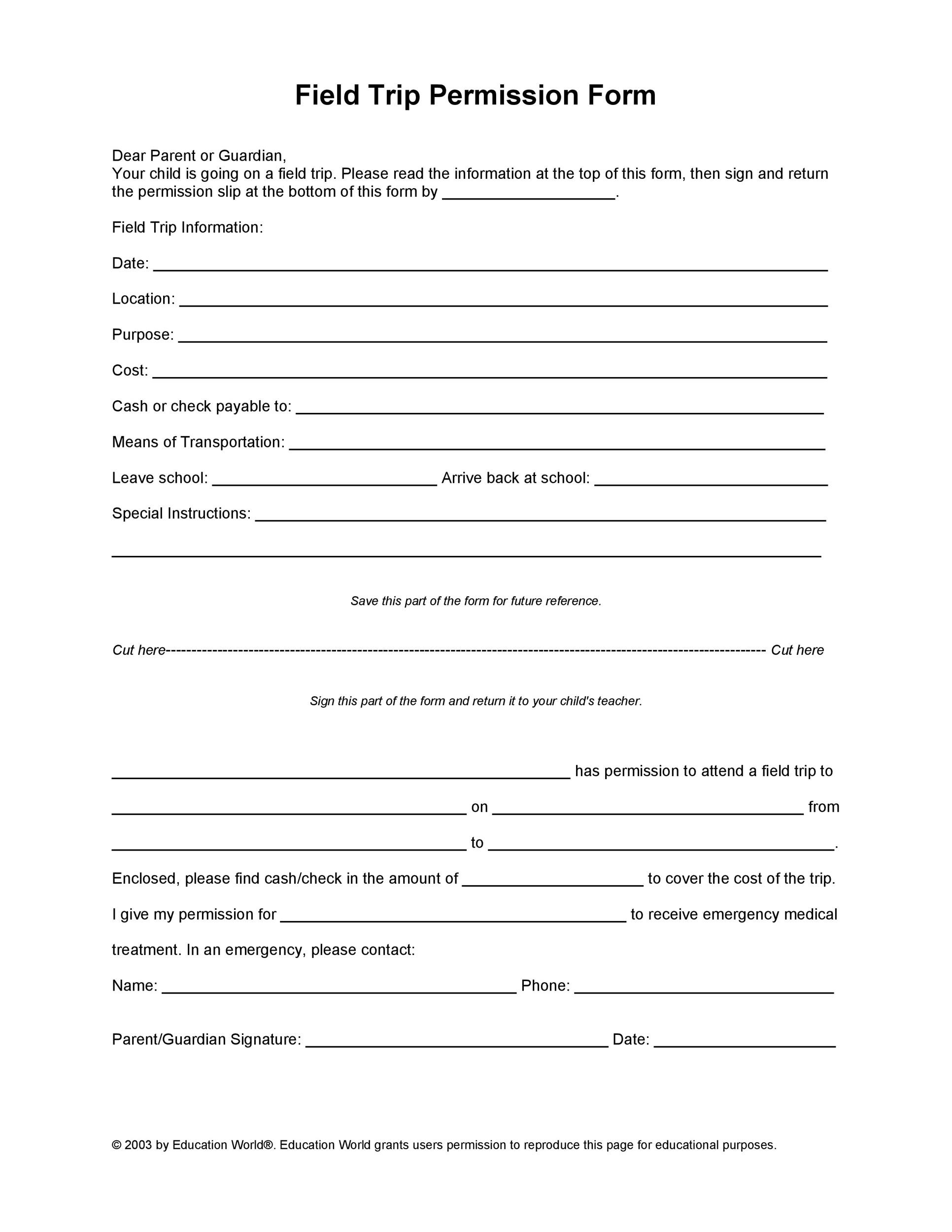 School Field Trip Permission Slip Template 35 Templates