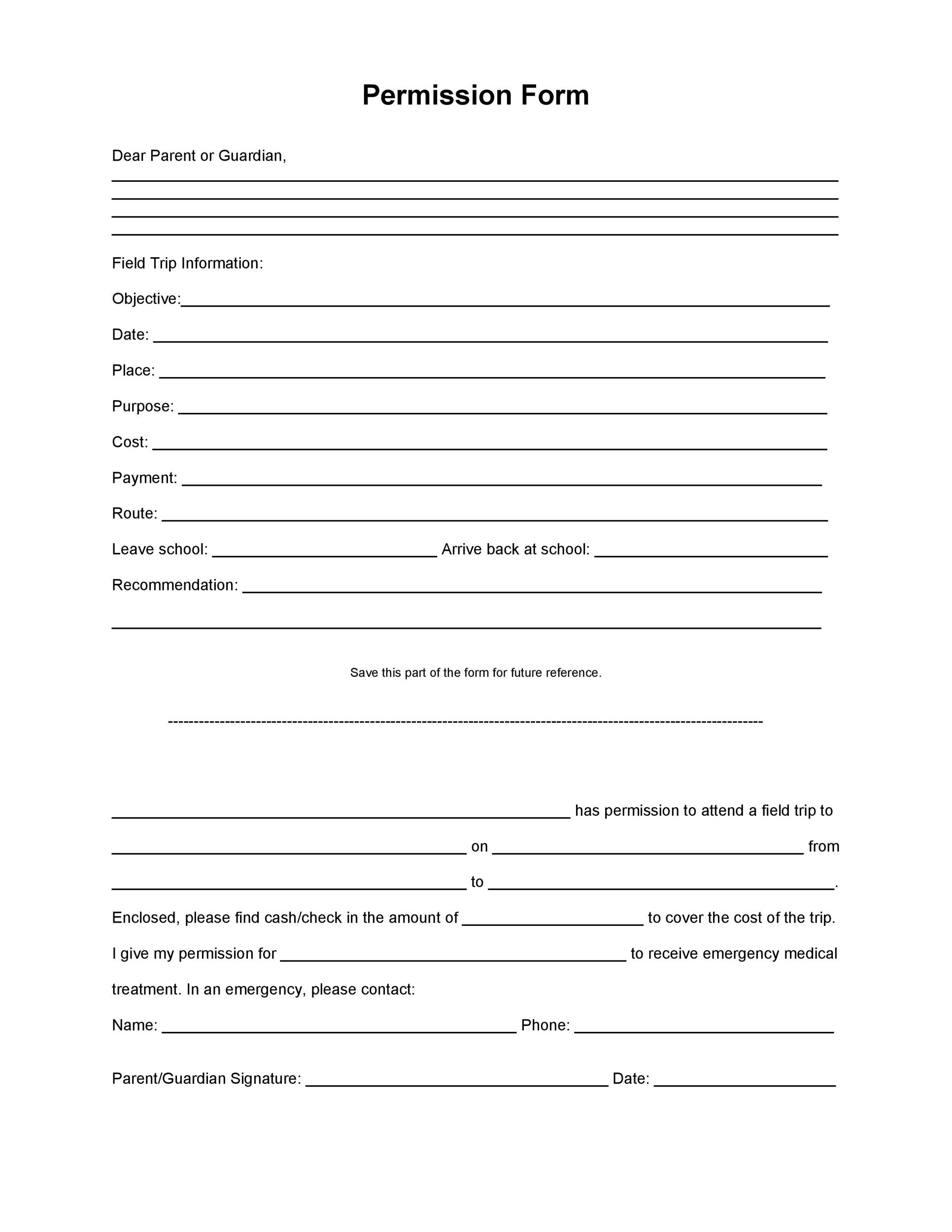 35 Permission Slip Templates Field Trip Forms – Leave Form Templates