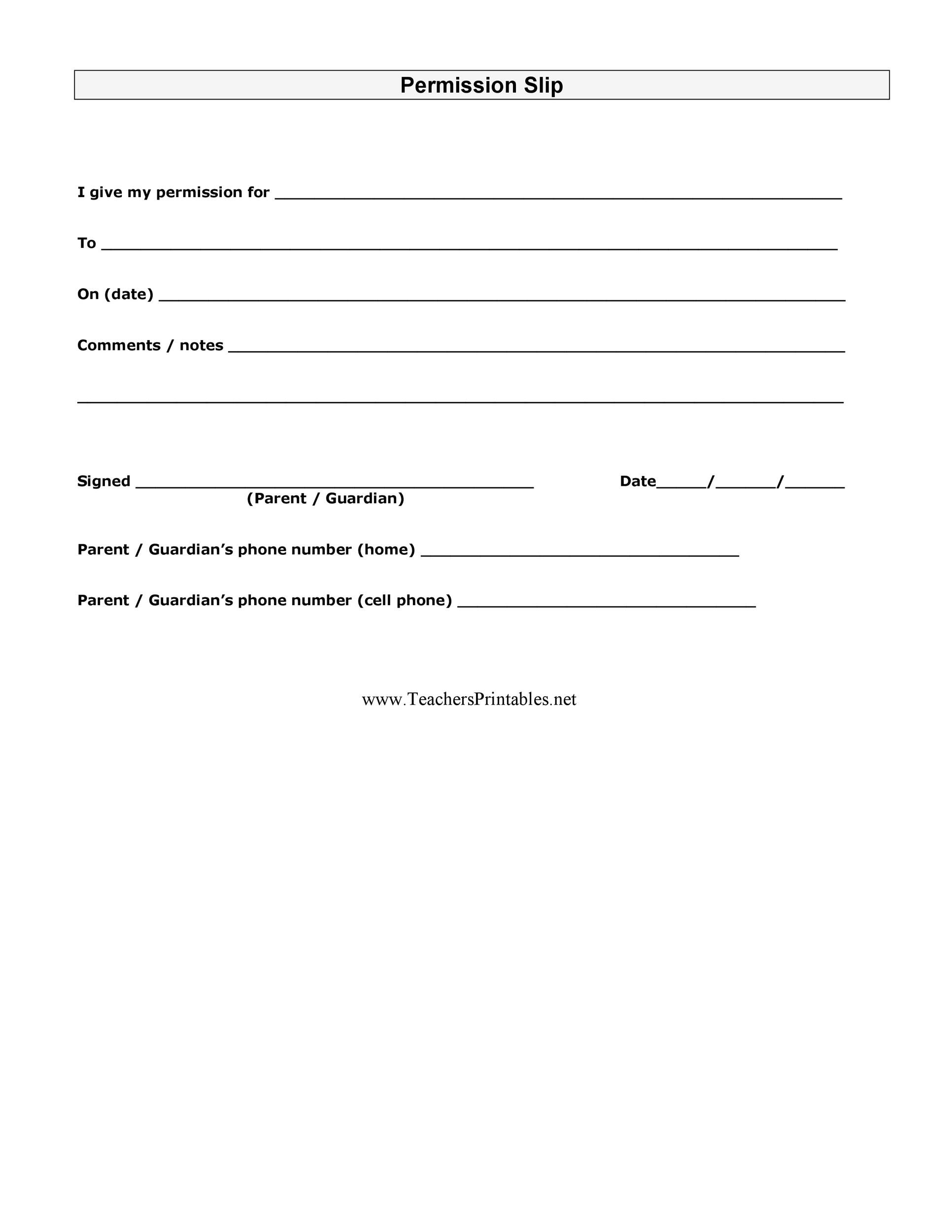Printable Permission Slip 07 Inside Permission Slip Template Word