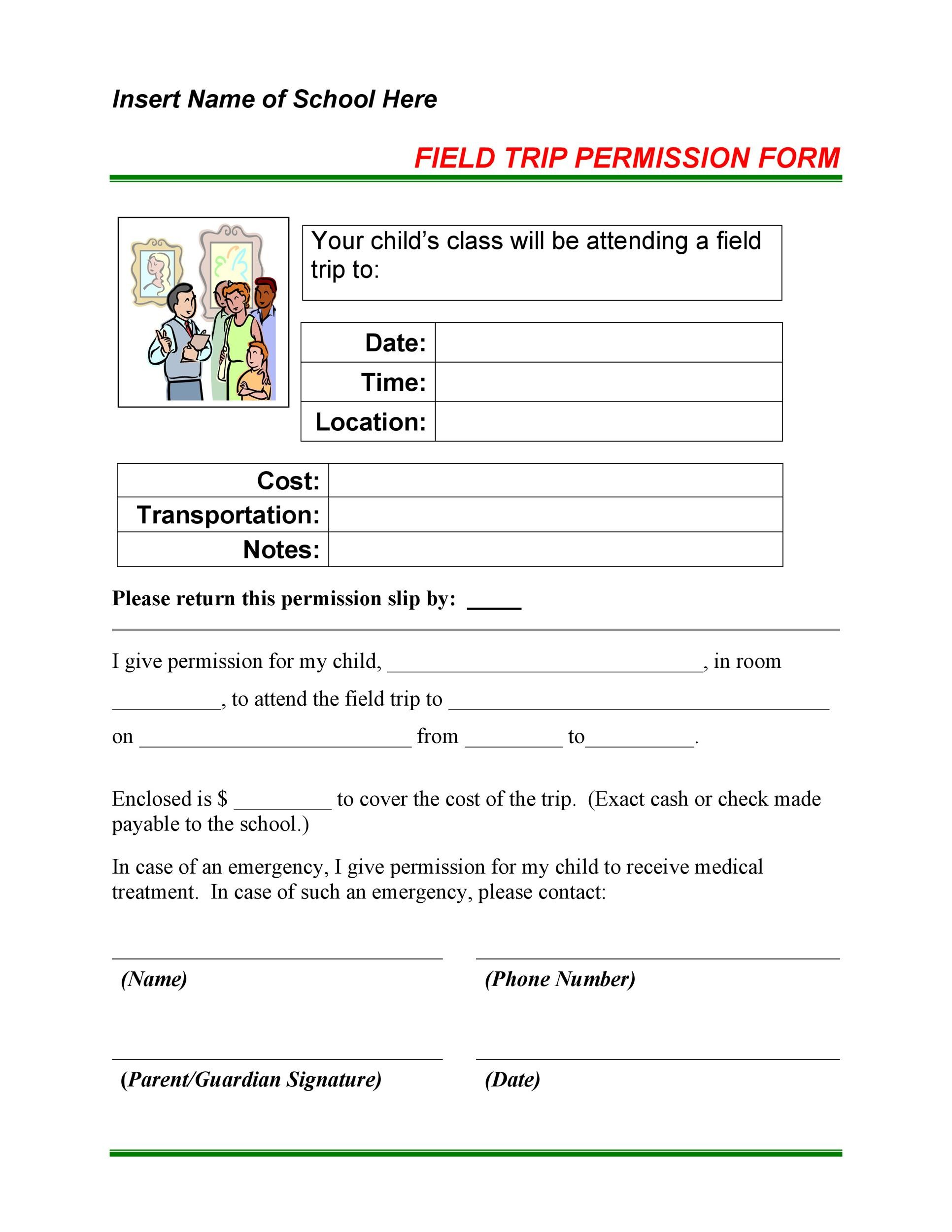 Free Permission Slip 08