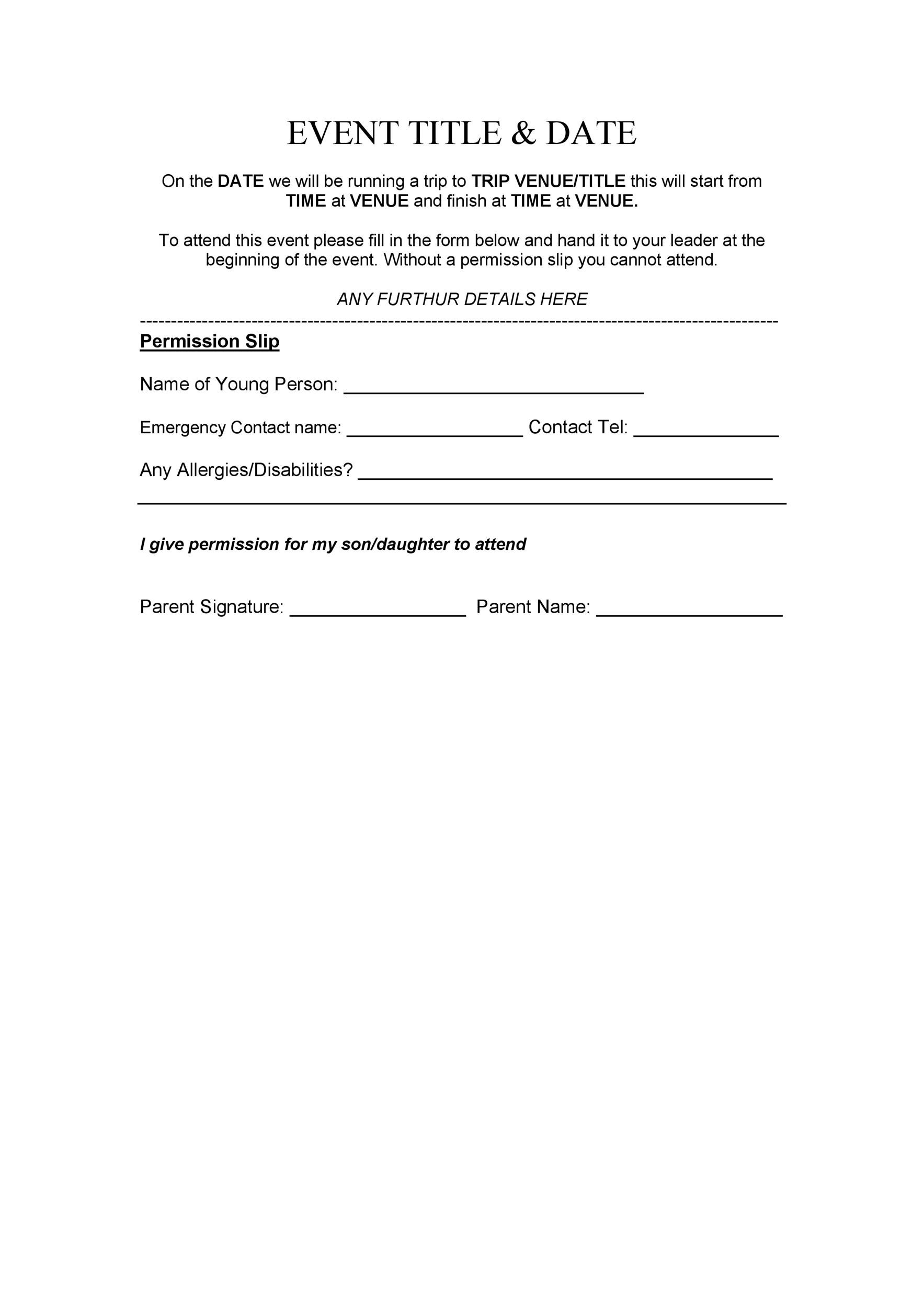 elementary field trip permission slip template