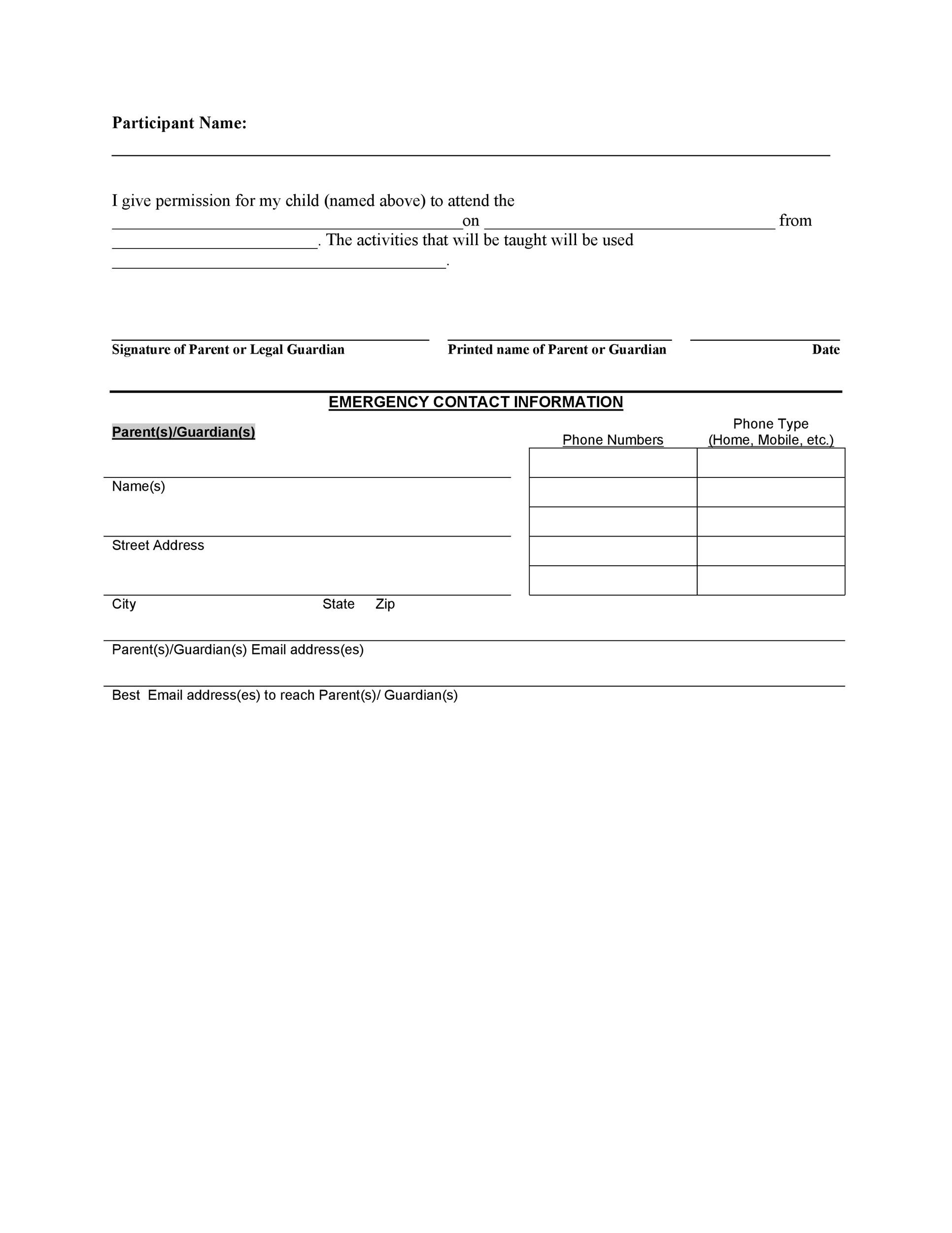 35 permission slip templates field trip forms for Naming a guardian for your child template