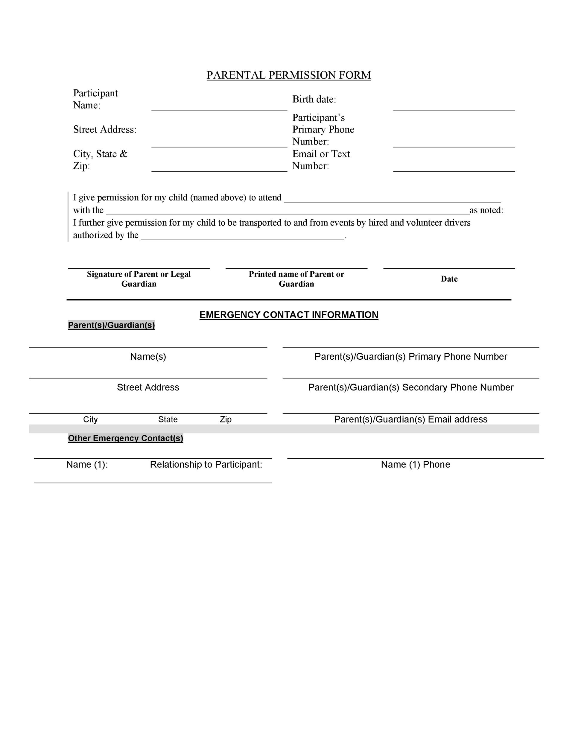 Permission Slip Templates