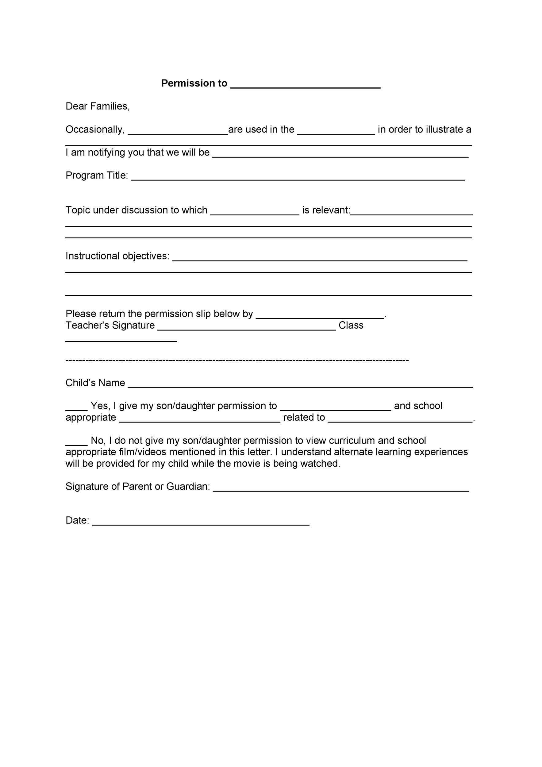 Permission slip templates field trip forms printable permission slip 16 altavistaventures Images