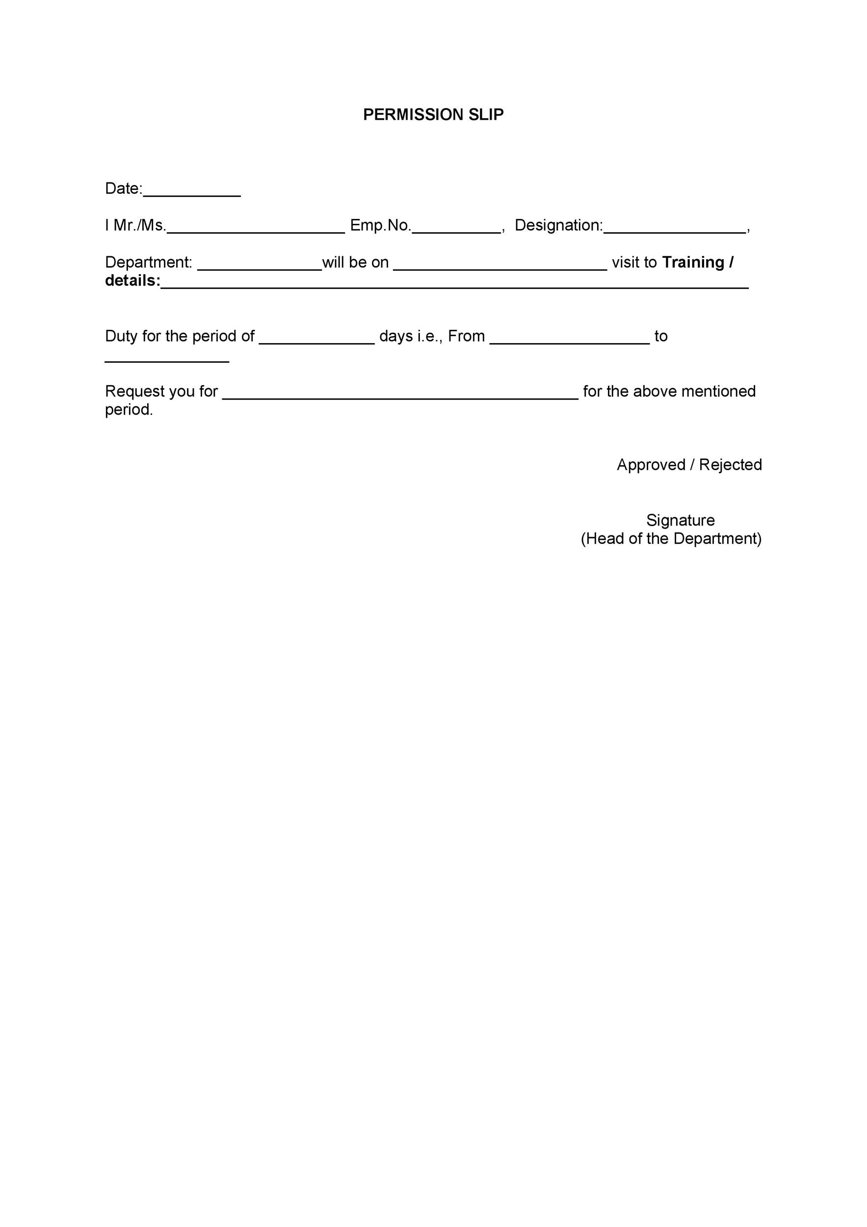 Printable Permission Slip 17 With Permission Slip Template Word